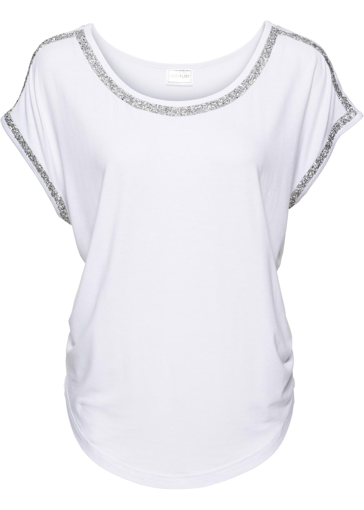 Application Manches Femme shirt Brillante Blanc Pour BonprixT Avec Courtes Bodyflirt oxerdWCB