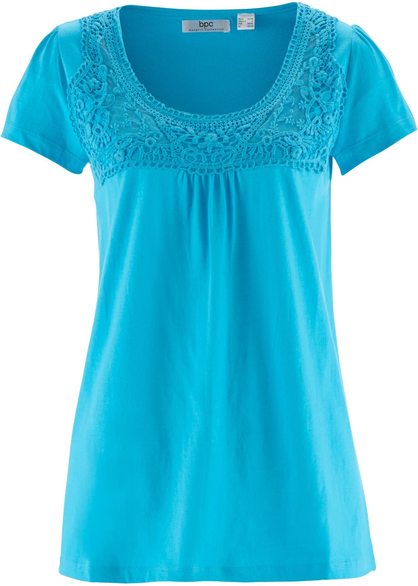 shirt DentelleManches Courtes CollectionT Bleu Pour Bonprix Bpc Femme Coton À nw0k8OP