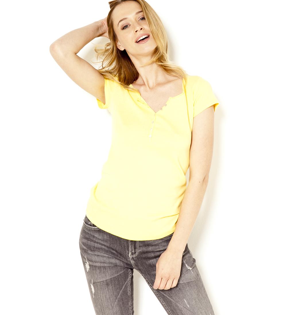 Femme T V Boutons Encolure Camaïeu shirt QCodExerBW