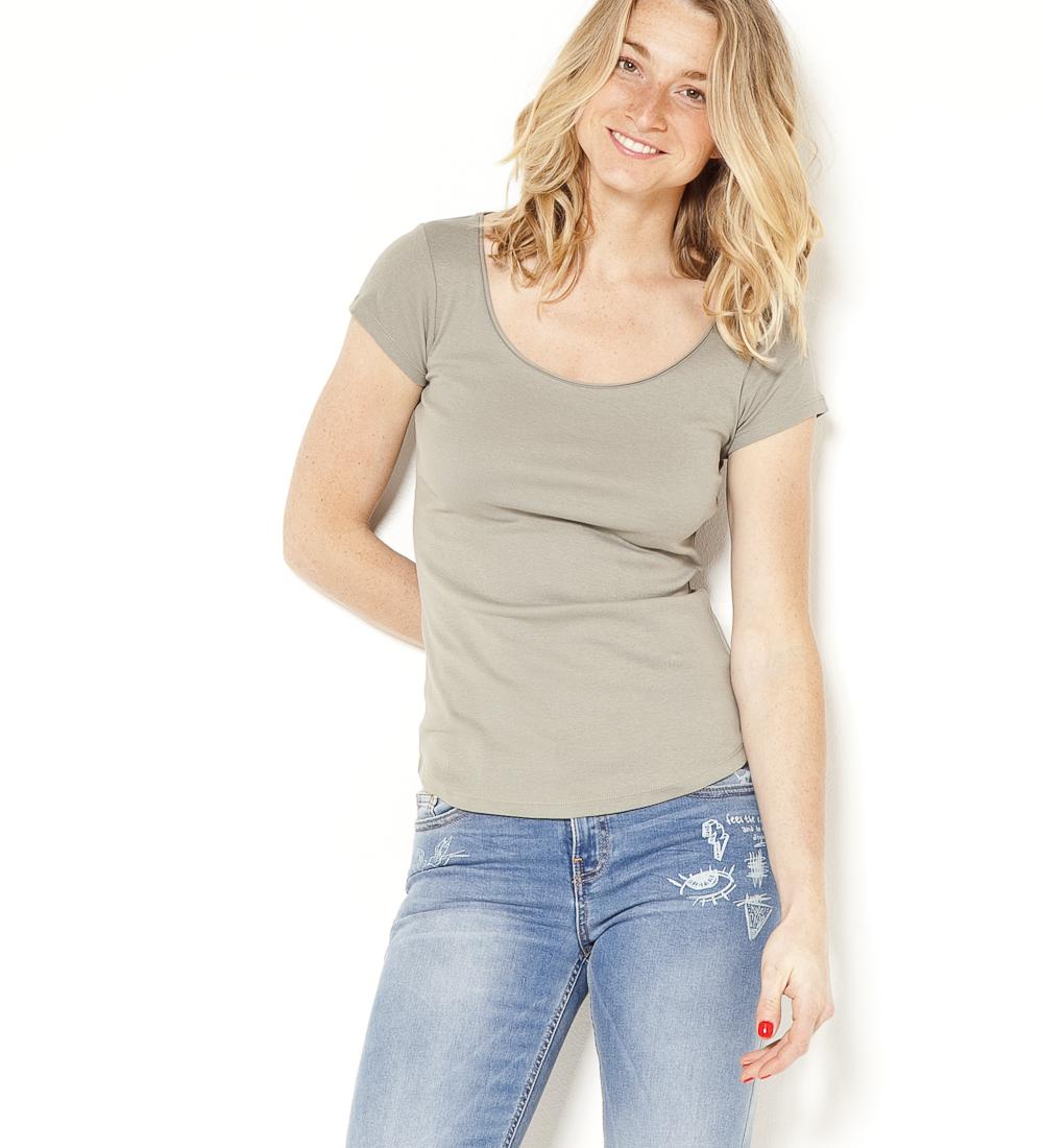 T Femme Camaïeu shirt Roulottée Encolure eCrxQdEBoW