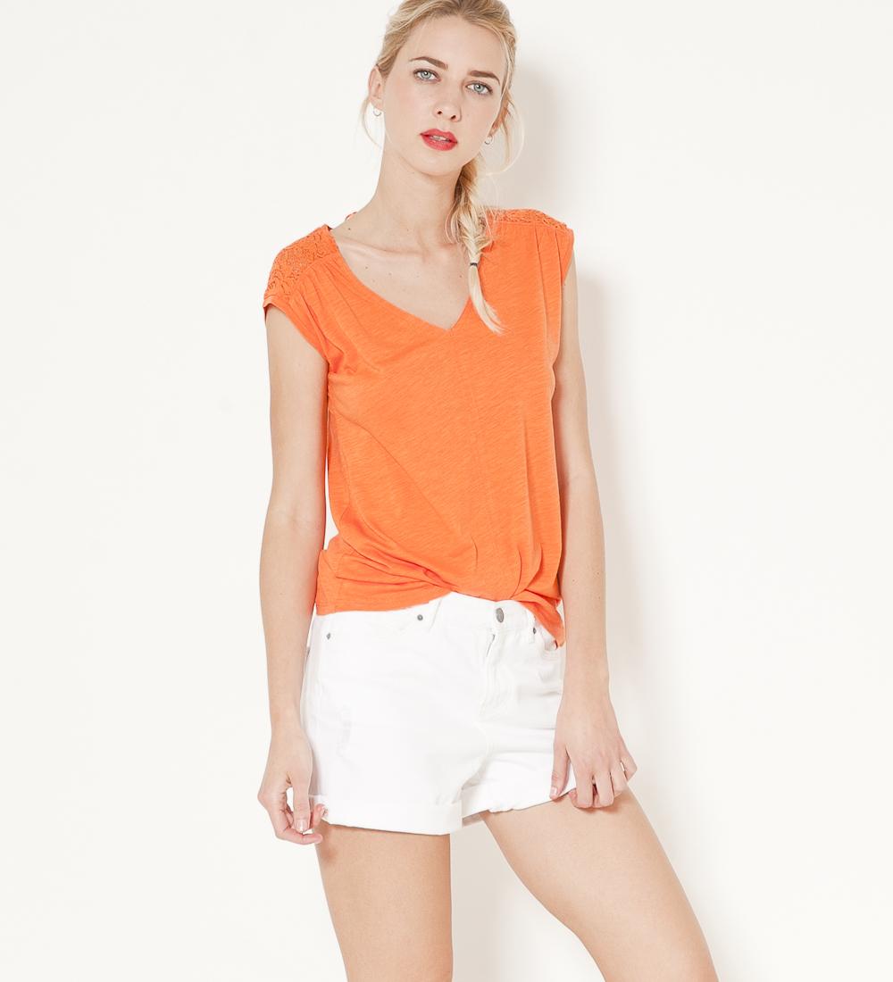 V Camaïeu Femme T shirt Col Dentelle vfYby76g