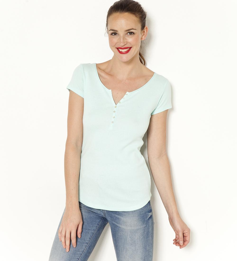 V Camaïeu Femme Boutons Encolure T shirt zqMSUpGLV