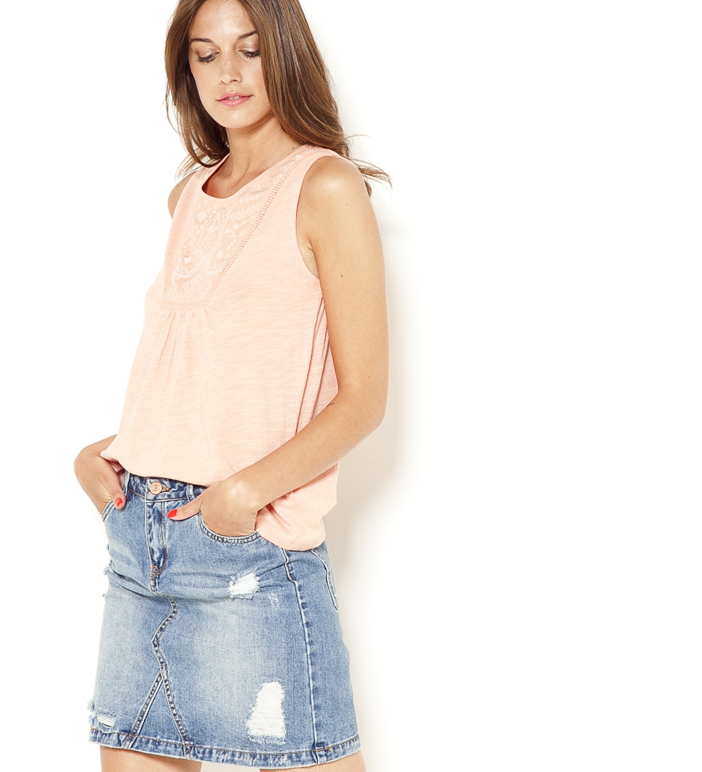 Camaïeu Brodé T Femme Plastron shirt 5c3SARL4qj