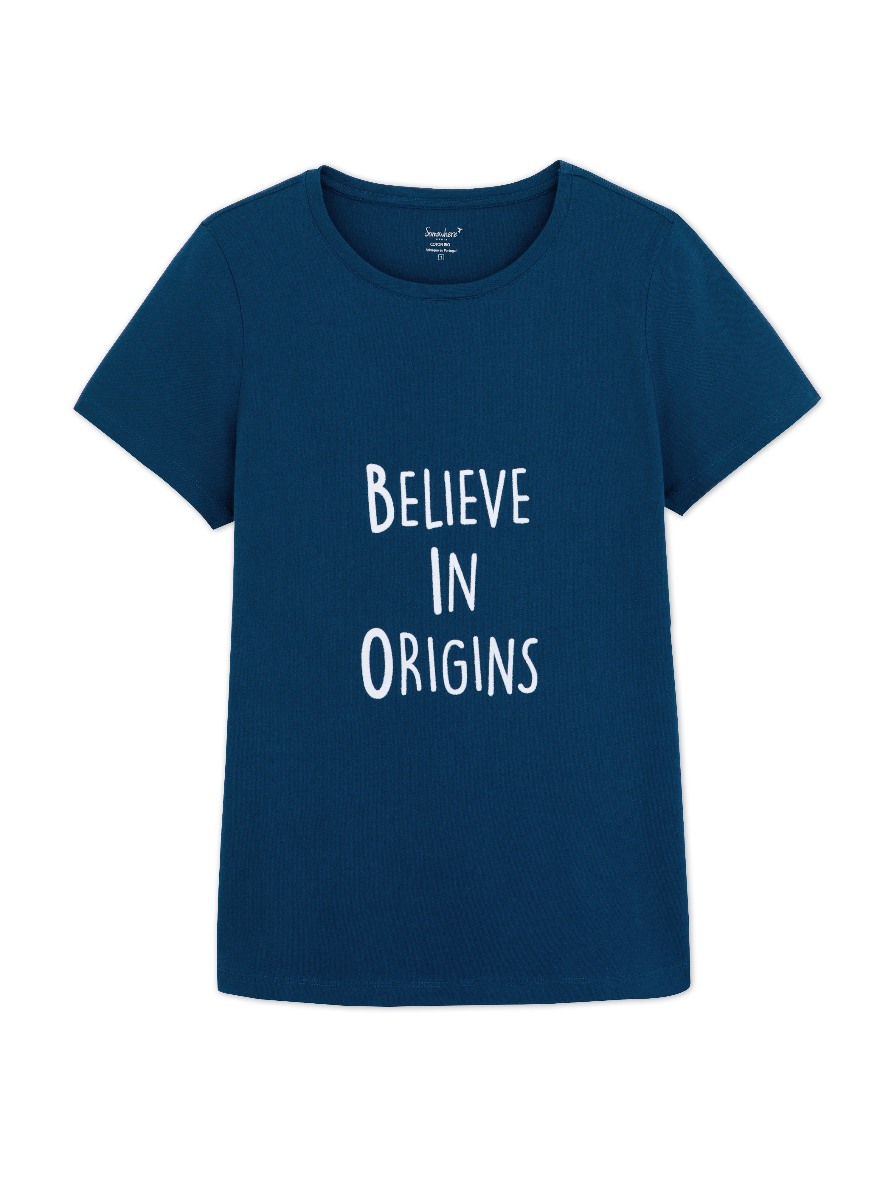 T Bio Coton À Cobalt Femme shirt Message SomewhereCouleur 5Lc4j3ARqS