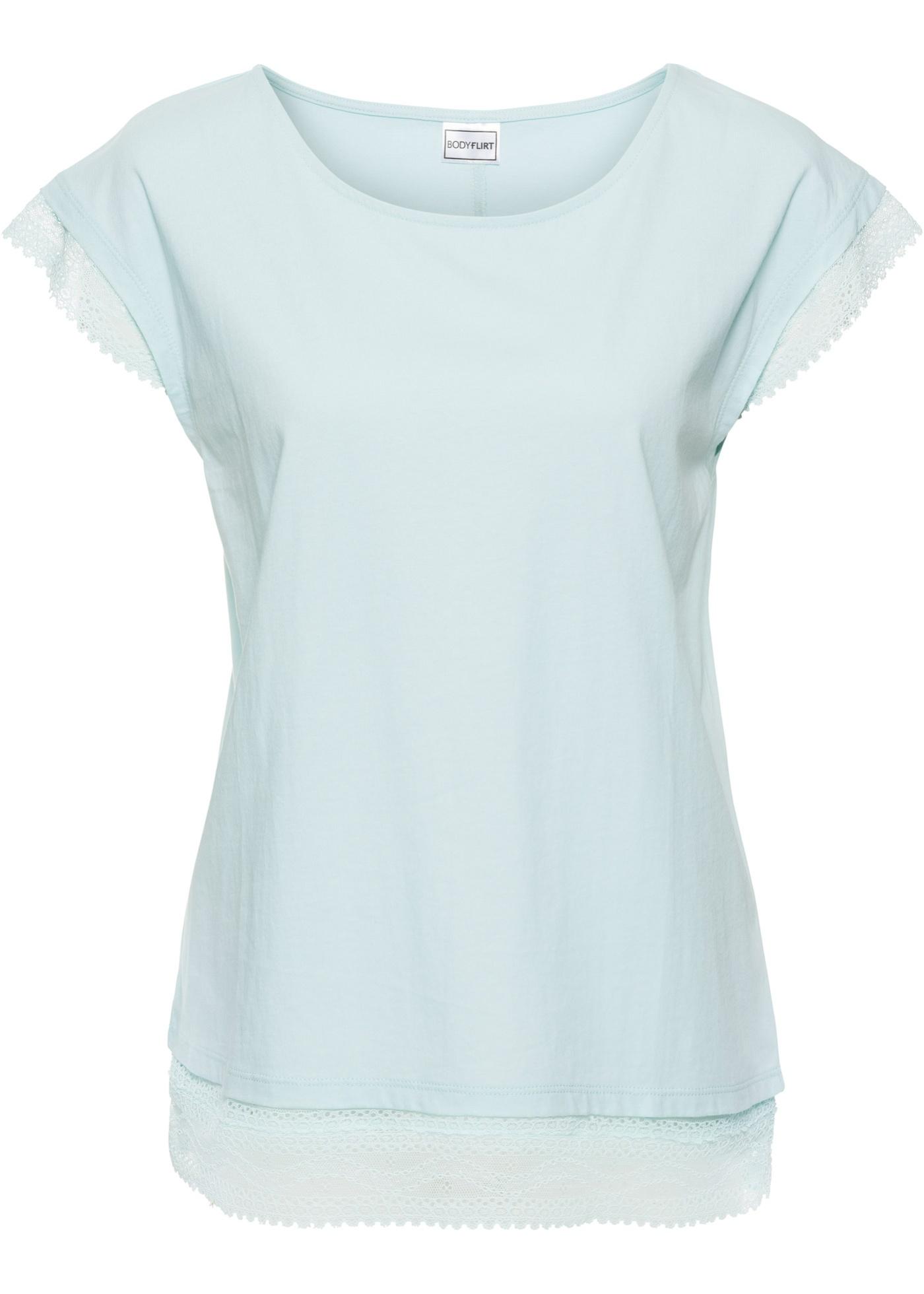 shirt Pour BonprixT Bleu Manches Dentelle Courtes Avec Femme Bodyflirt Boxy WHYE2D9I
