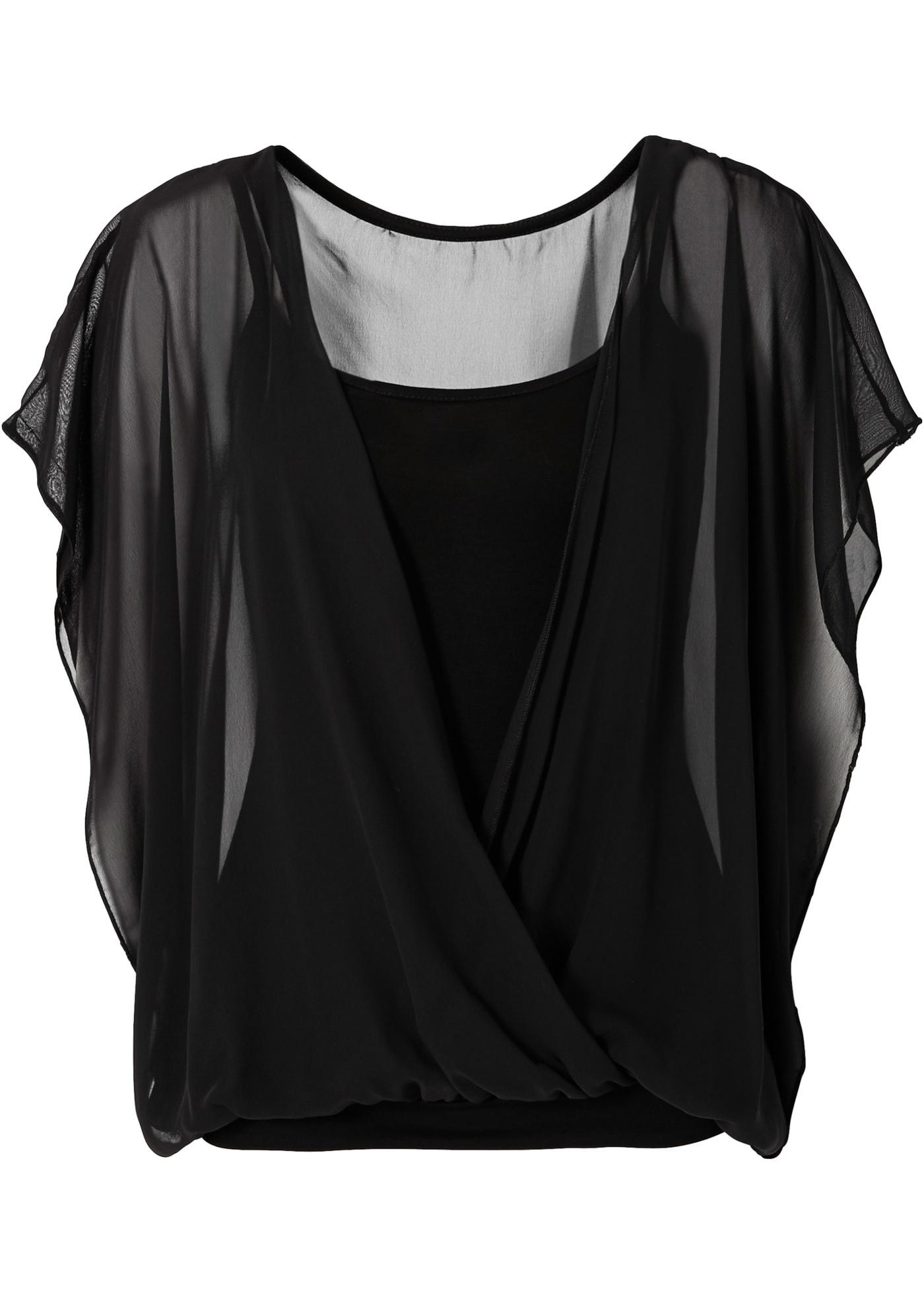 Femme Manches Noir BonprixBlouse Courtes Bodyflirt Pour rstQhd
