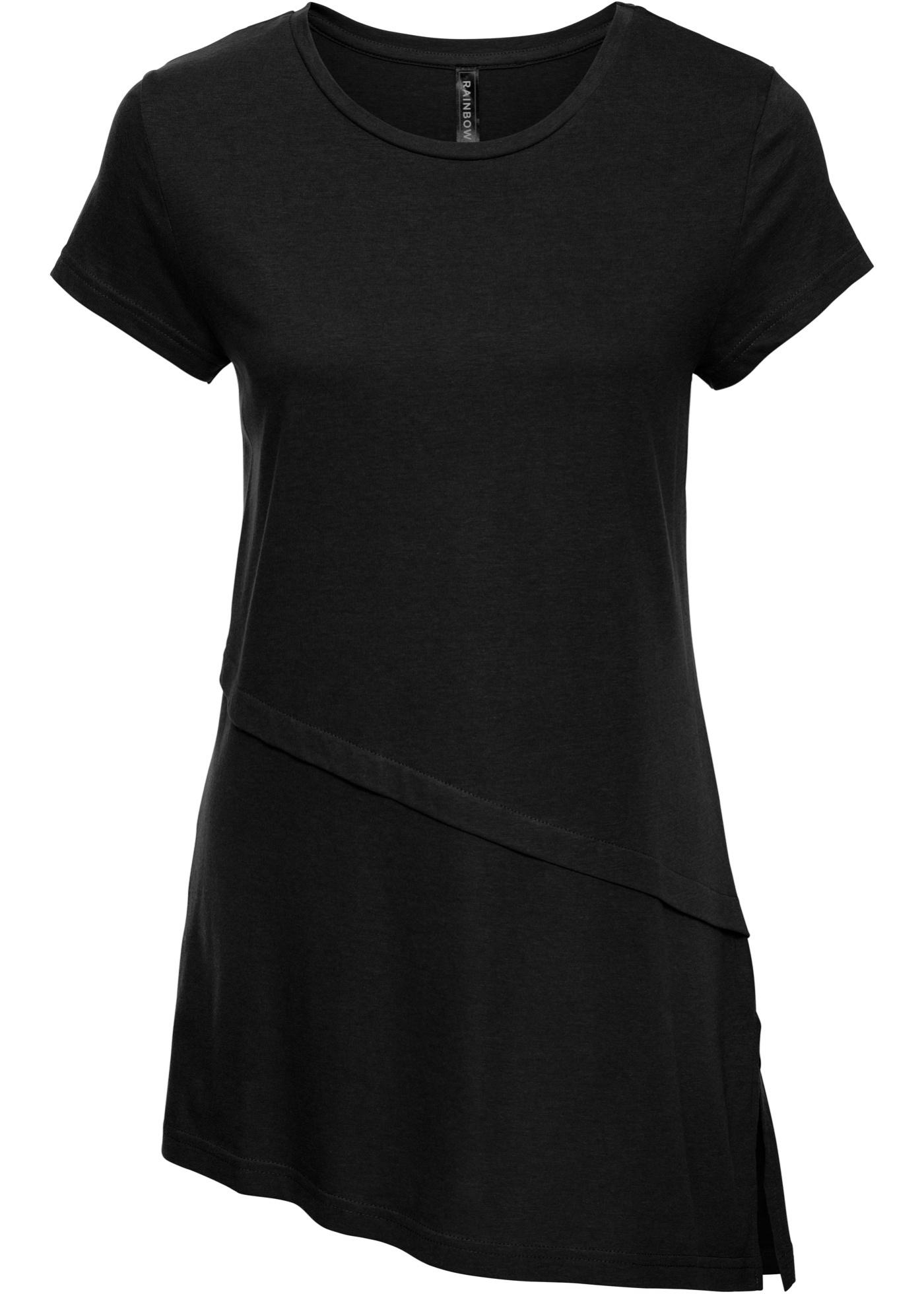 Manches Pour Rainbow BonprixT Courtes Femme shirt Asymétrique Noir BrsdhtQCx