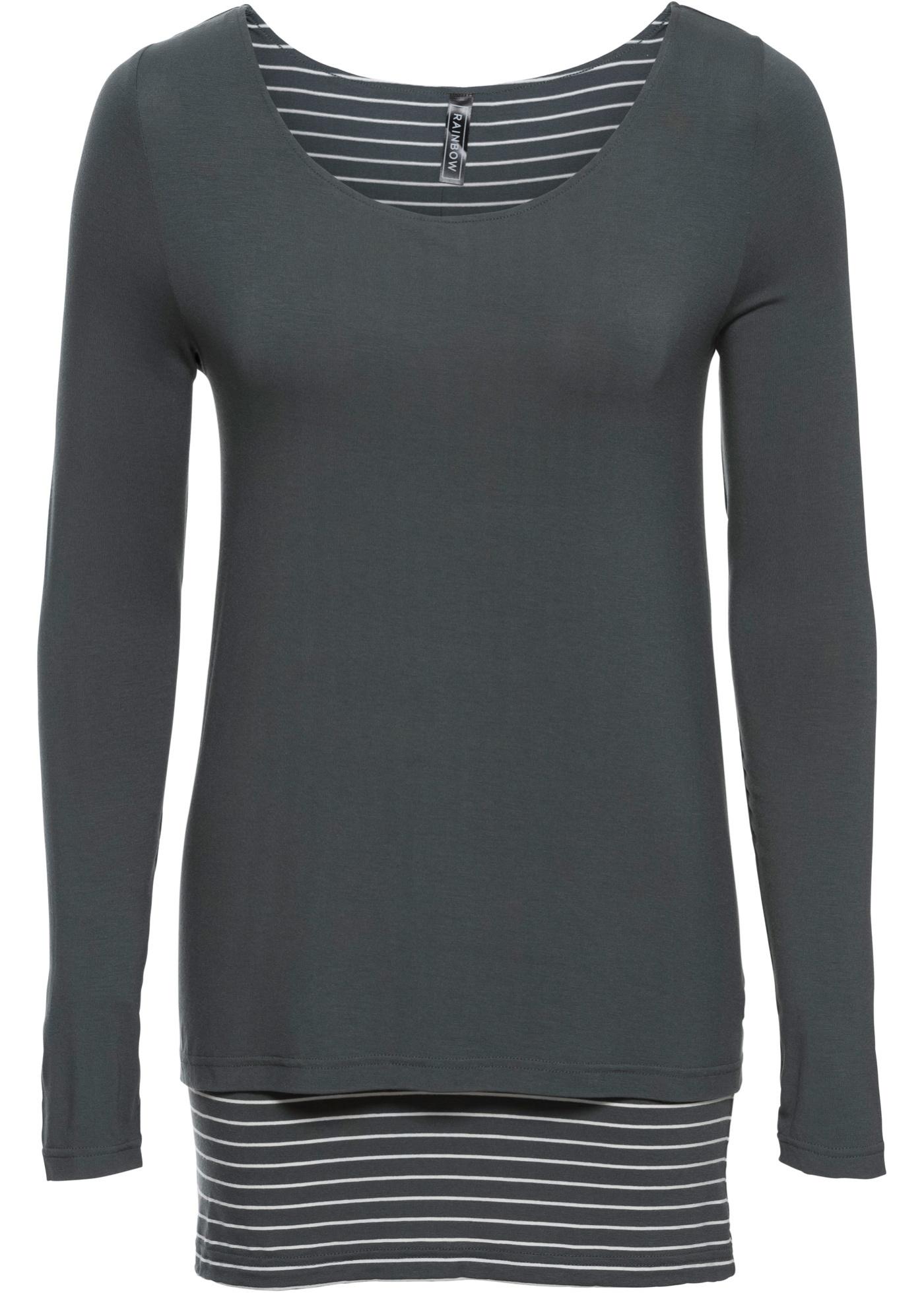 shirt Rainbow Longues Épaisseur Vert Femme Manches Double Pour BonprixT Nn0wm8