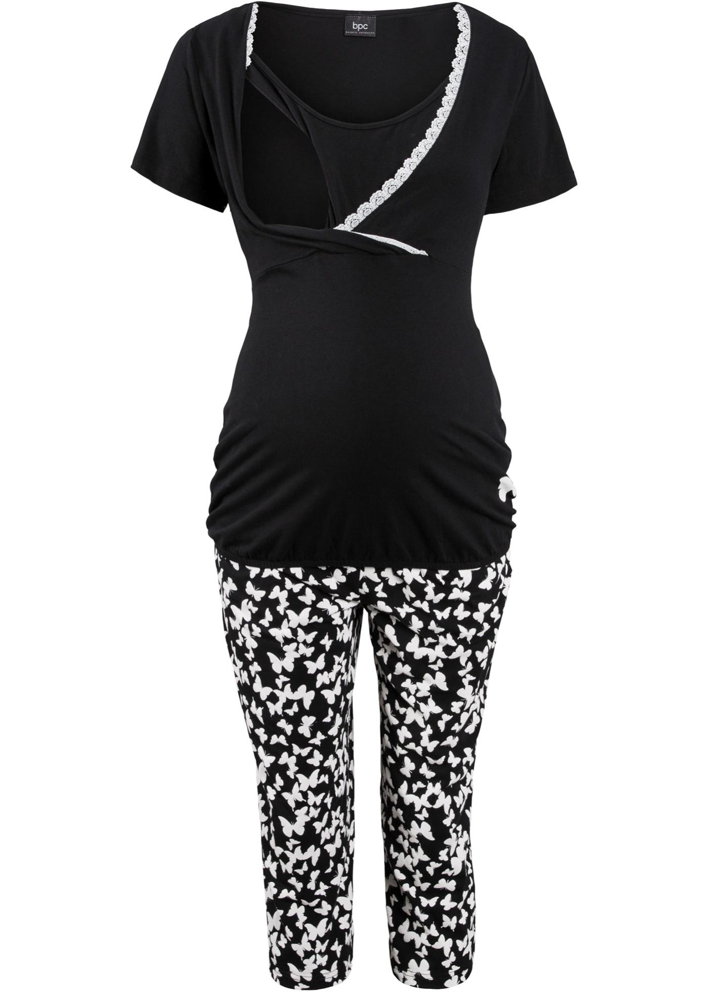 Femme Noir Size Courtes Bonprix Pour CollectionNice Bpc D'allaitement Manches Pyjama Corsaire cqS54AR3jL