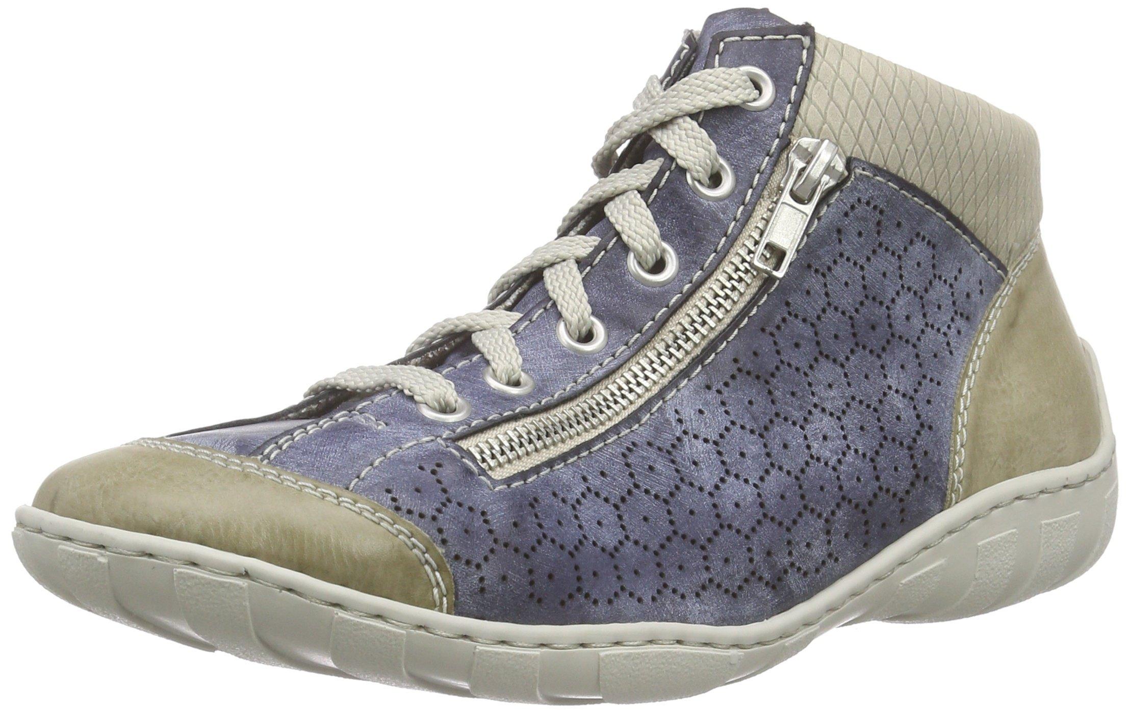 Rieker champignon6038 Blaumarble topSneakers Women Hi M3735 jeans Basses FemmeBleu kPuOZiX