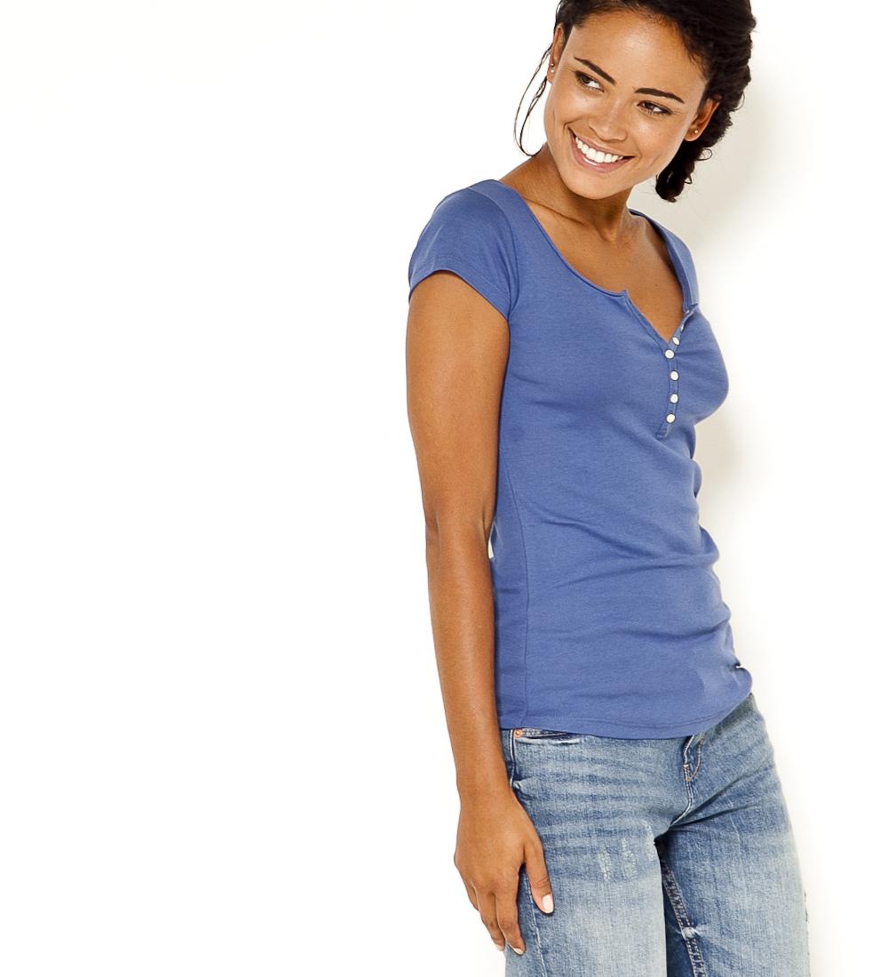Femme Boutons Camaïeu Encolure V T shirt cFJlK1