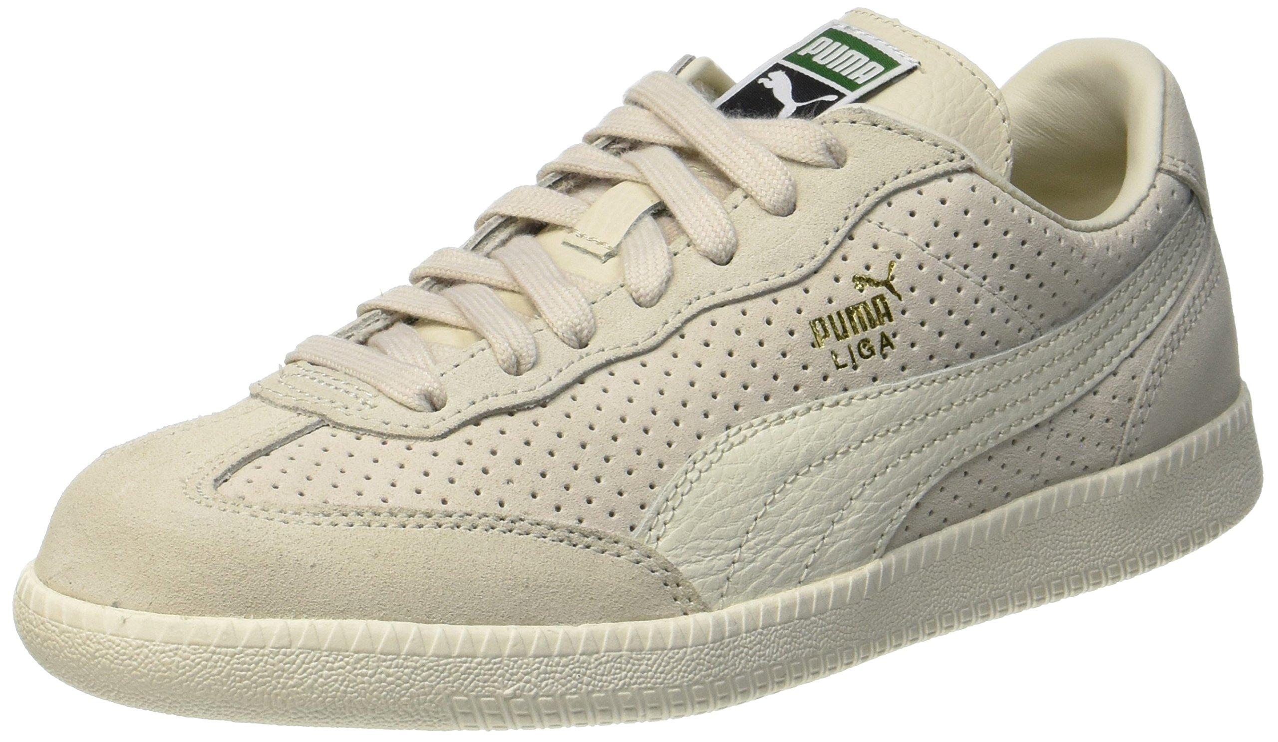 PUMA Liga Suede Perf, Sneakers Basses Mixte Adulte, Beige (Birch Whisper White Team Gold), 44.5 EU