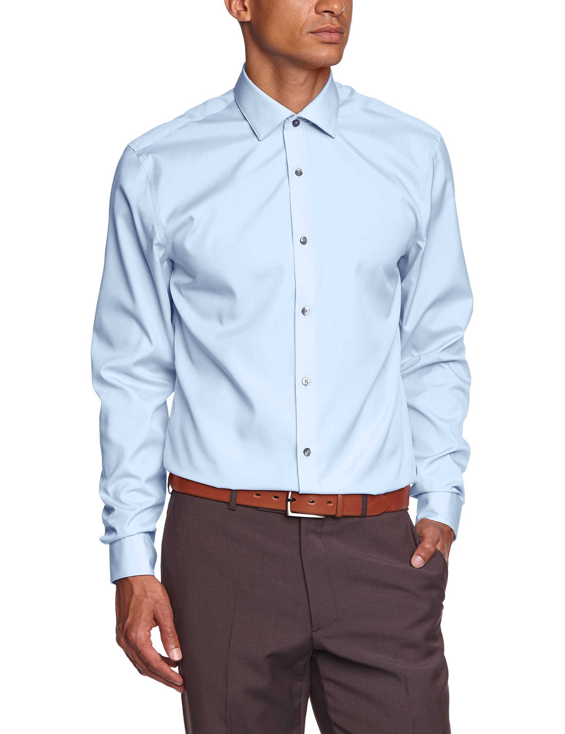 Cannes Calvin Fabricant45Homme Klein BusinessBleusoft Fitted Ftc Chemise Blue39taille vIYf76gbym