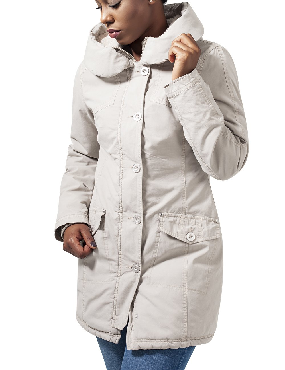 Urban Garment Long BlousonEcrusand40taille Parka Washed Classics FabricantMFemme Ladies 0ON8nwkZPX