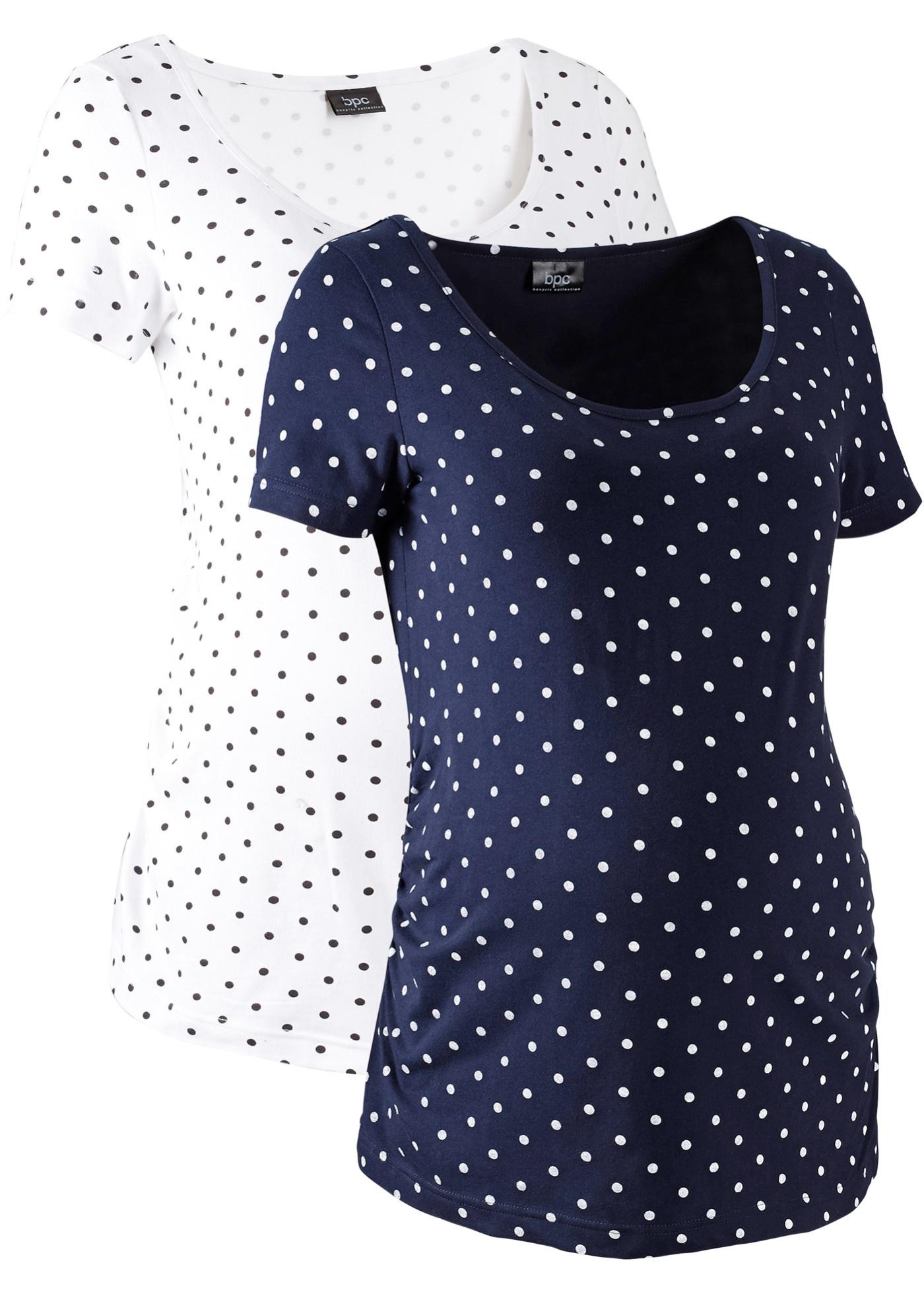 Bonprix Femme Coton Grossesse De En Blanc CollectionLot shirts Bpc Mi manches T Bio Pour 2 DH2EW9I