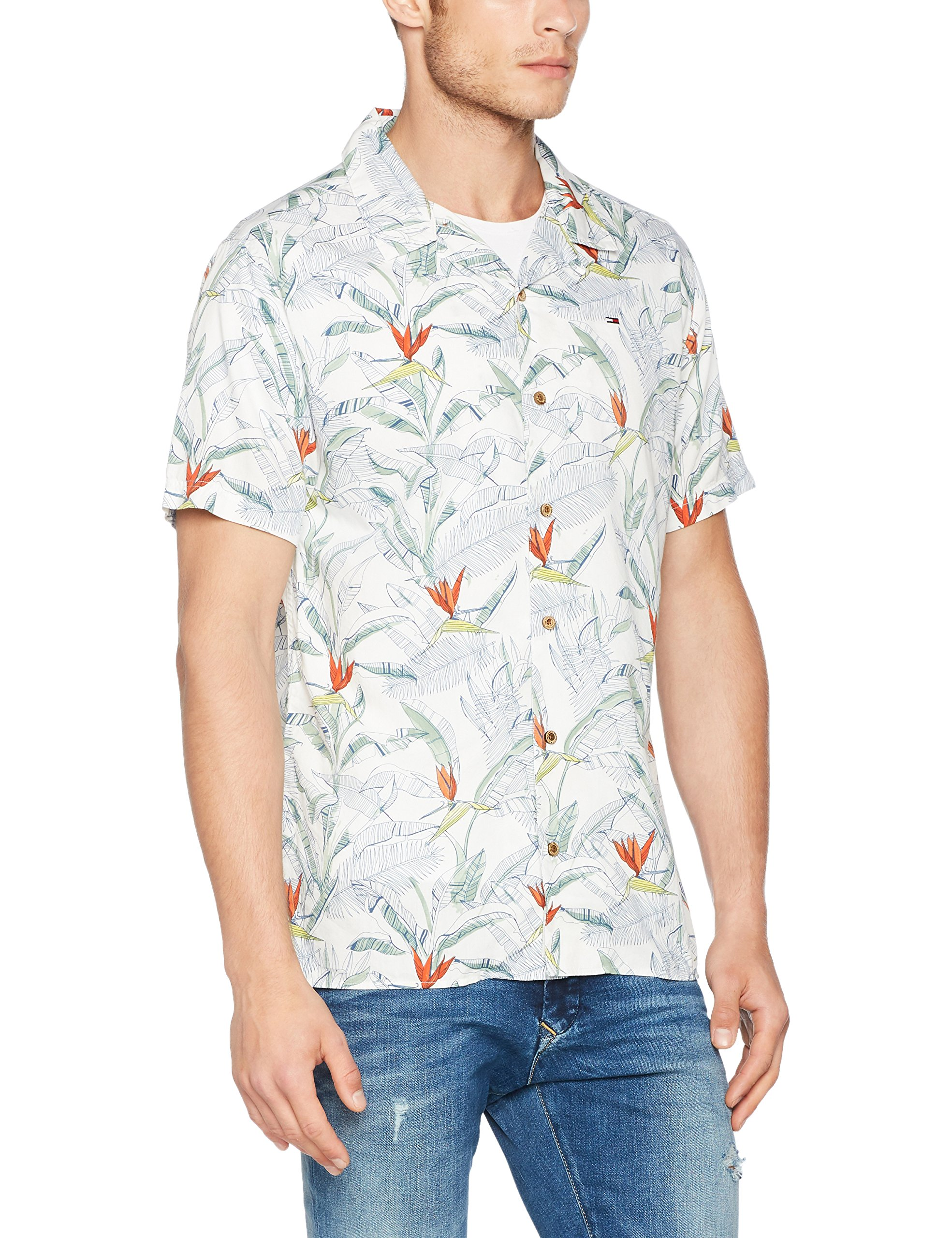 Manches Print Floral Chemise Tommy Coupe Casual Courtes Droite Homme 400Medium Jeans Multicoloretropical 0ynvNOm8w