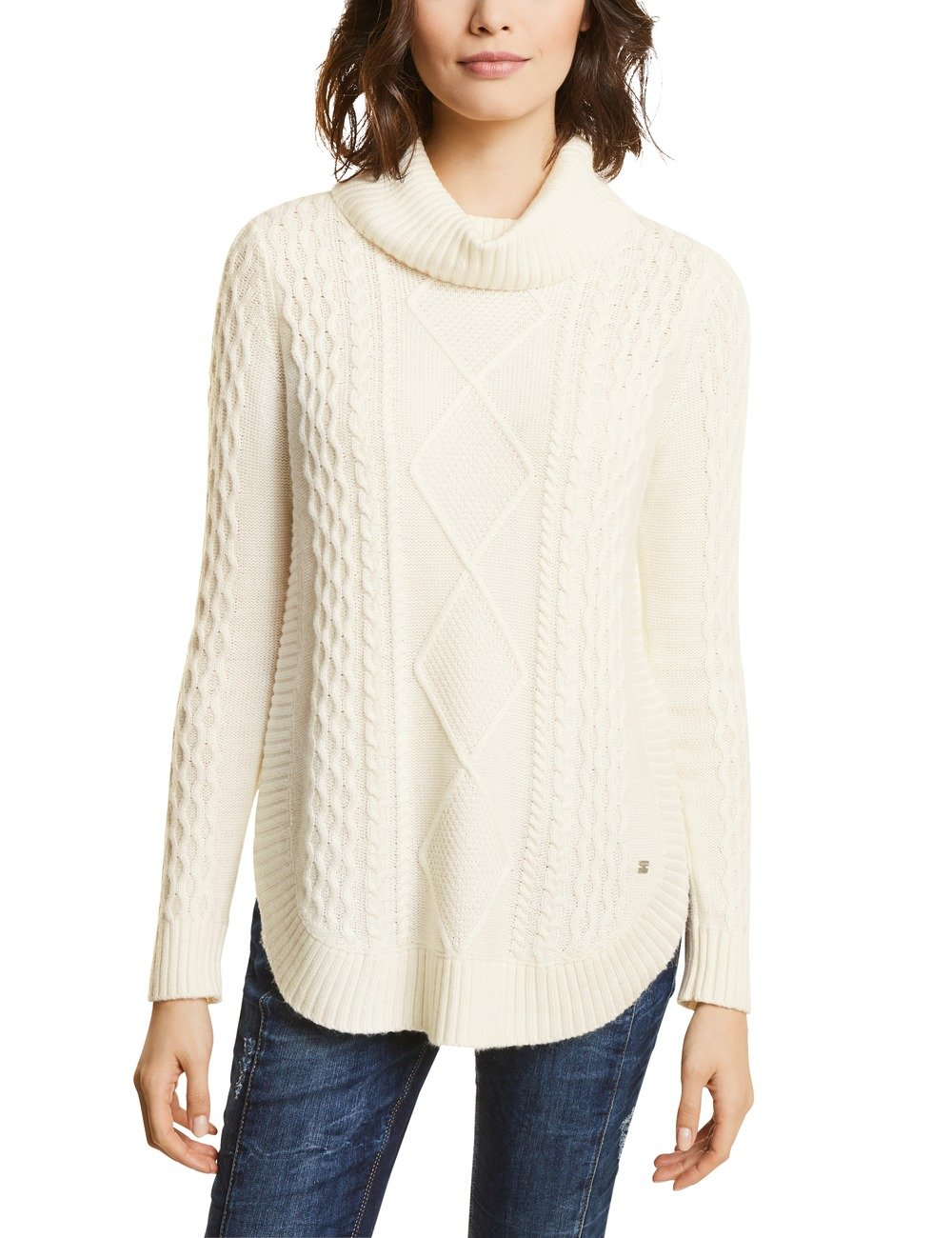 With Street PullWeißoff One Fabrican44Femme Cable Du Bottom 1010846taille Pullover Curved White 34j5qARL