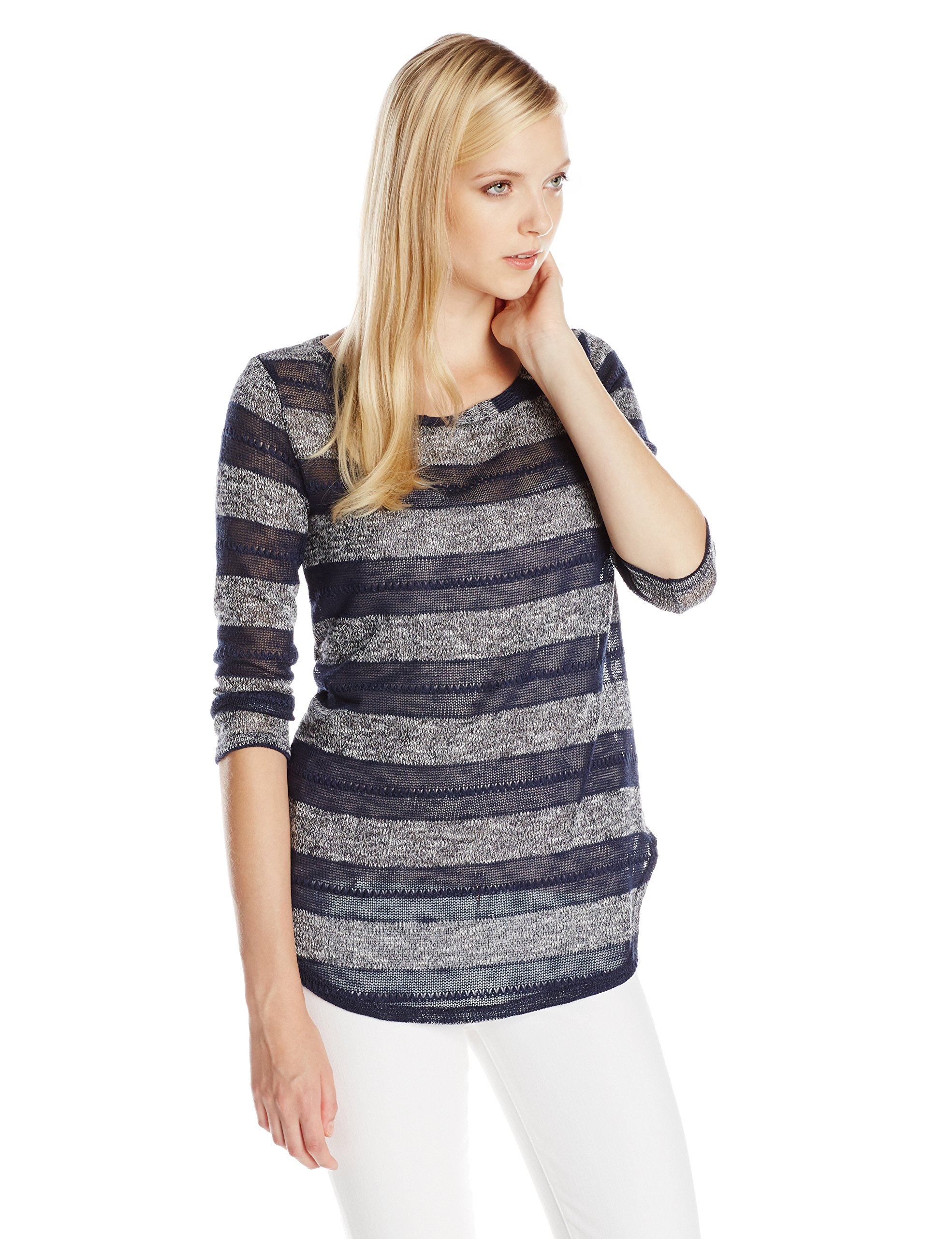 Rayures Col Femme Rugby Longues Bateau Manches Loose FabricantSmall À Pointelle MulticolorenavyFr38taille Splendid StripedHaut ARqjL354
