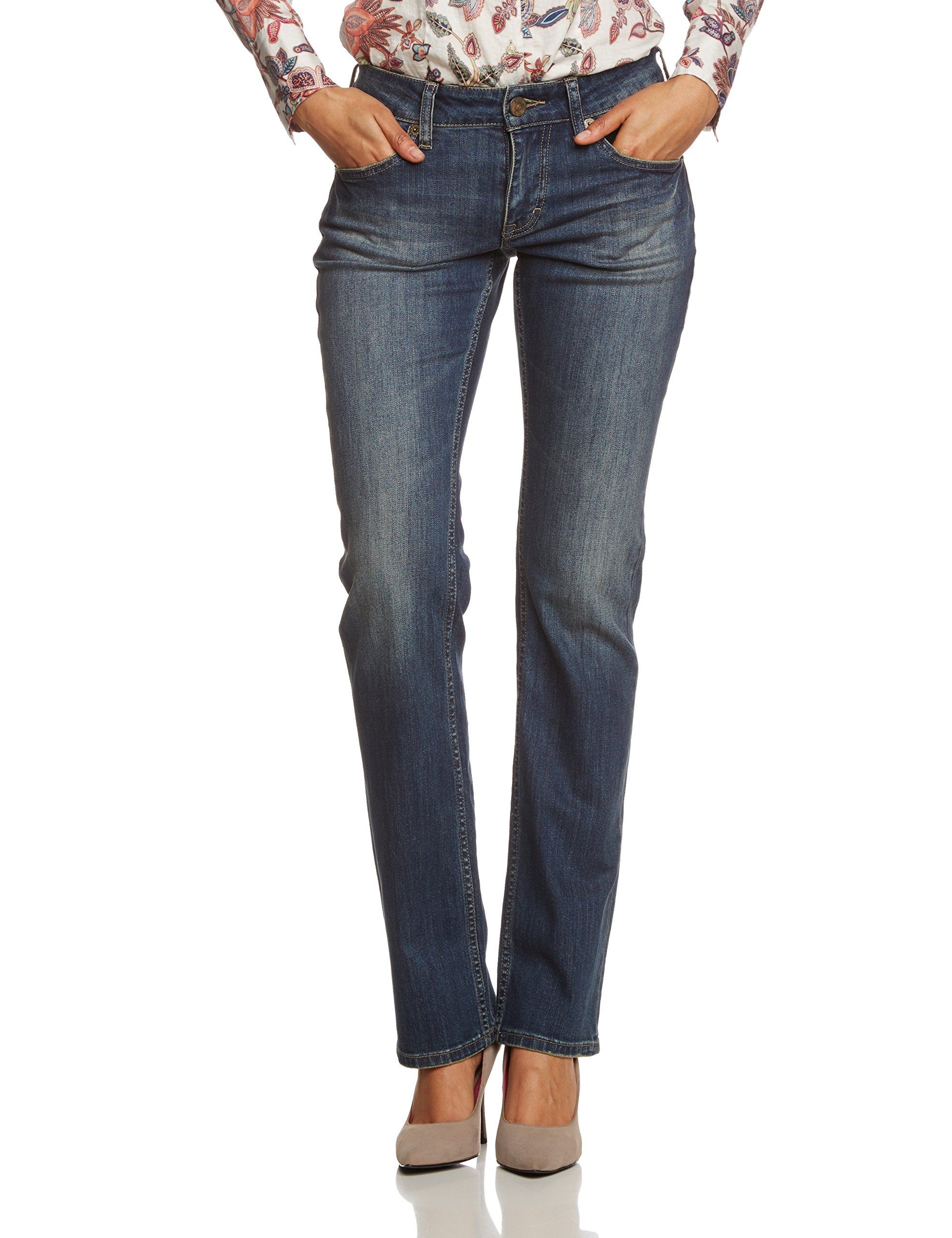 Straight blauscratched Mustang JeansBleu Sissy Femme 579W32L34 Used yb76fg