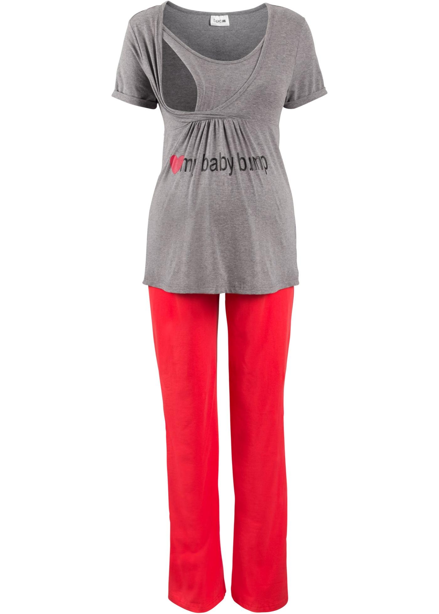 Pyjama Pour CollectionNice Gris Allaitement Size Et Manches Courtes Bonprix Femme Grossesse Bpc De BodxeC
