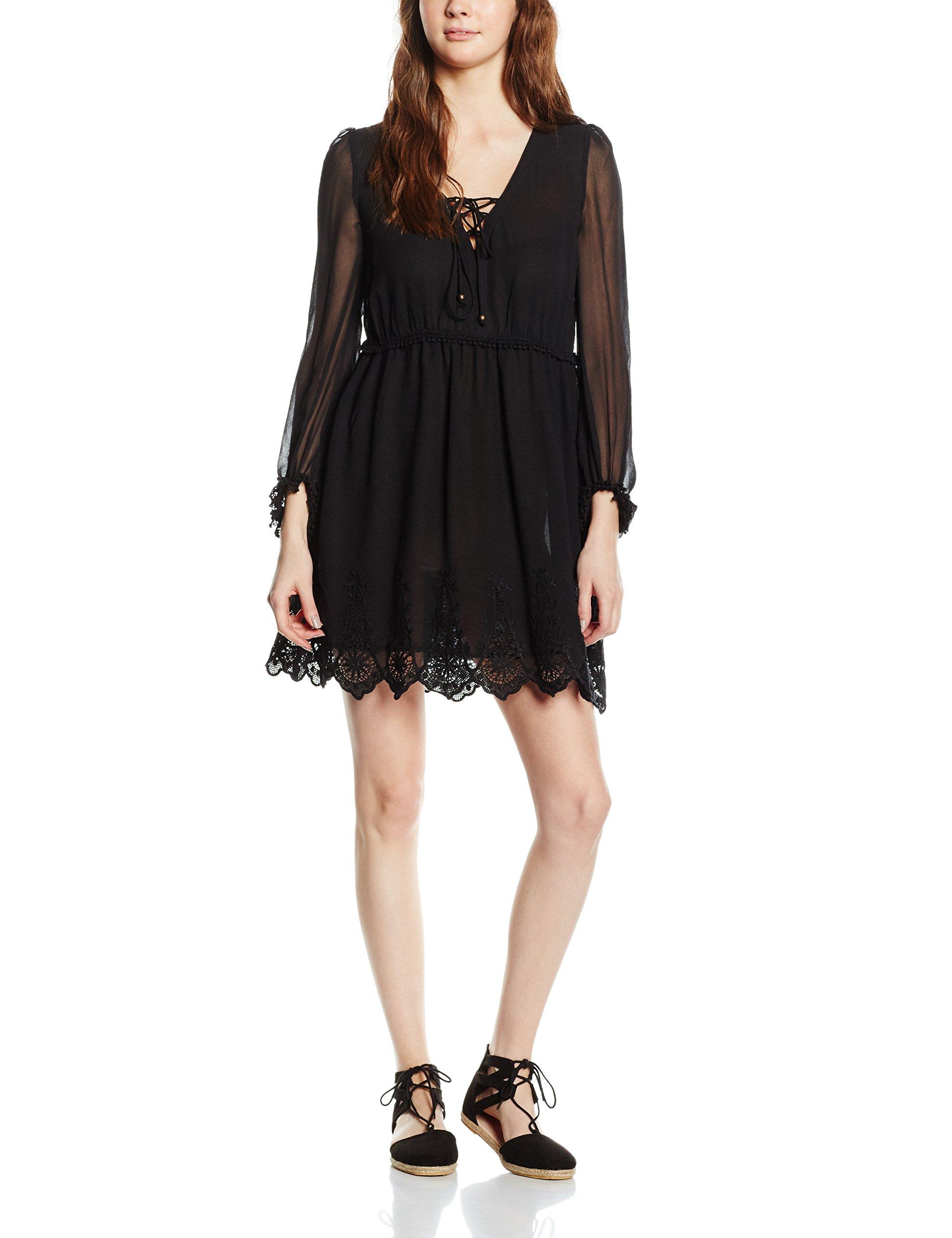 L Embroidery Robe Dress 2L s Black Cortefiel Femme wn0Nv8mO