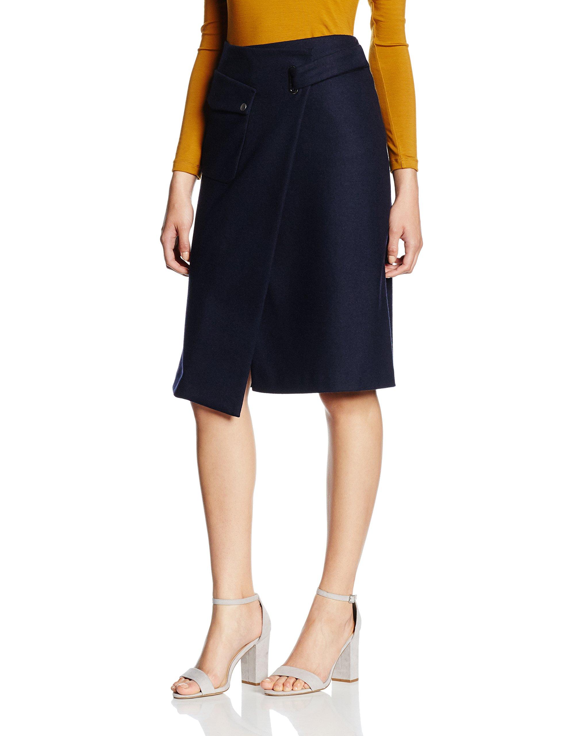 Filippa Wool Fabricant mediumFemme Wrap Skirt JupeBleunavy40taille Pocket K lcKF1J