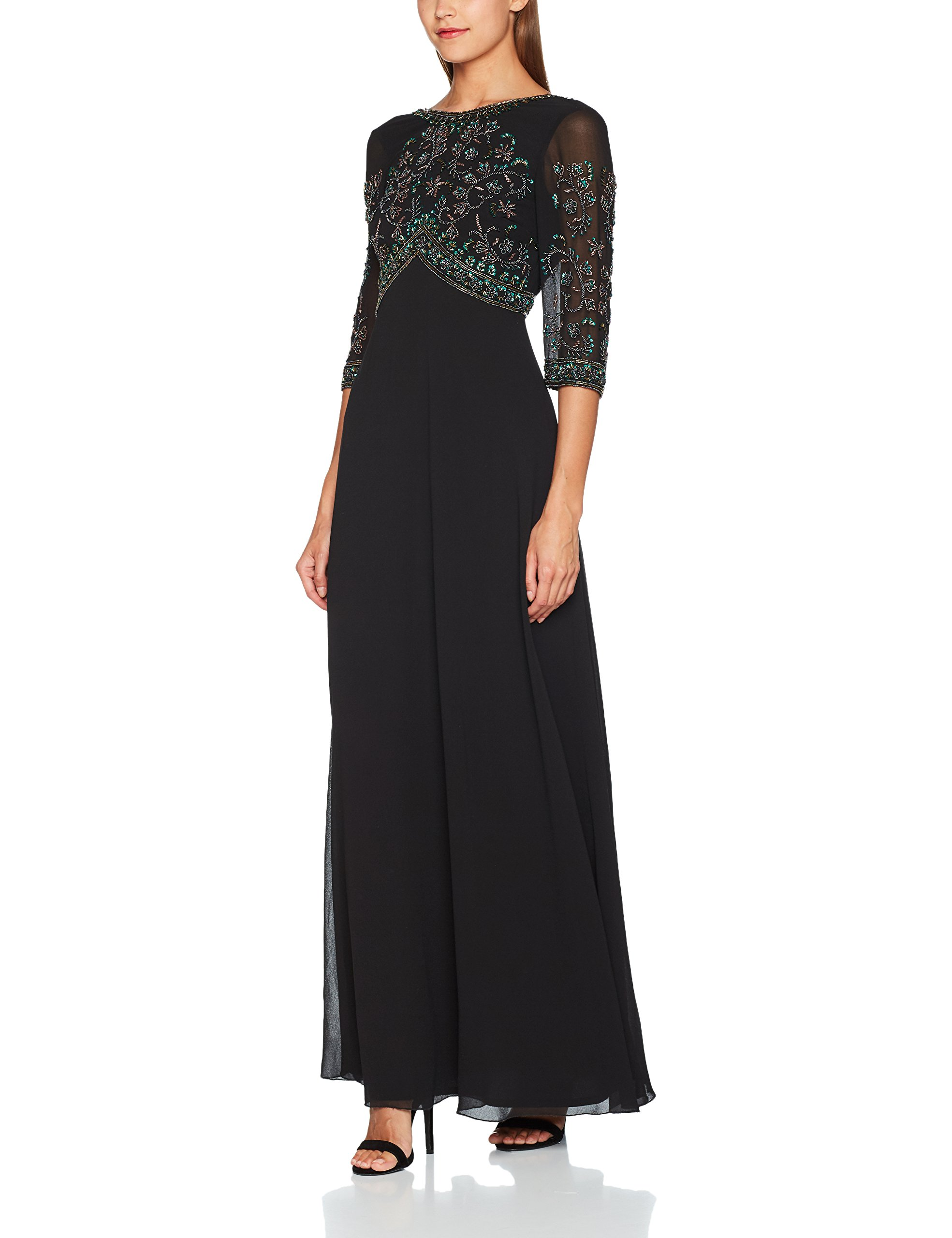 And Bhavya 4 Fabricant16 Cocktail 3 00000044taille Sequin Frill DressRobe FemmeNoirblack Maxi Manches Frock 4RL3Aj5