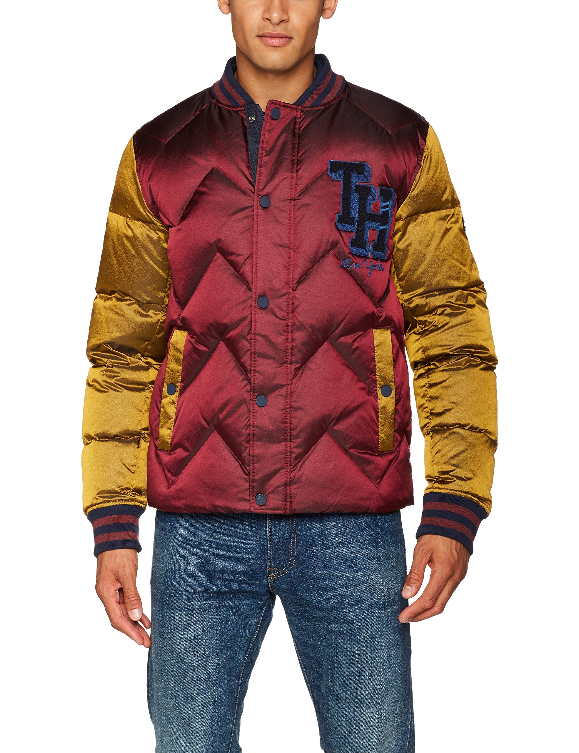 Wine Longues Manches Tommy 901Large Jeans Down Rougewindsor Homme gold Varsity Doudoune Veste Bomber Imb6vgyf7Y