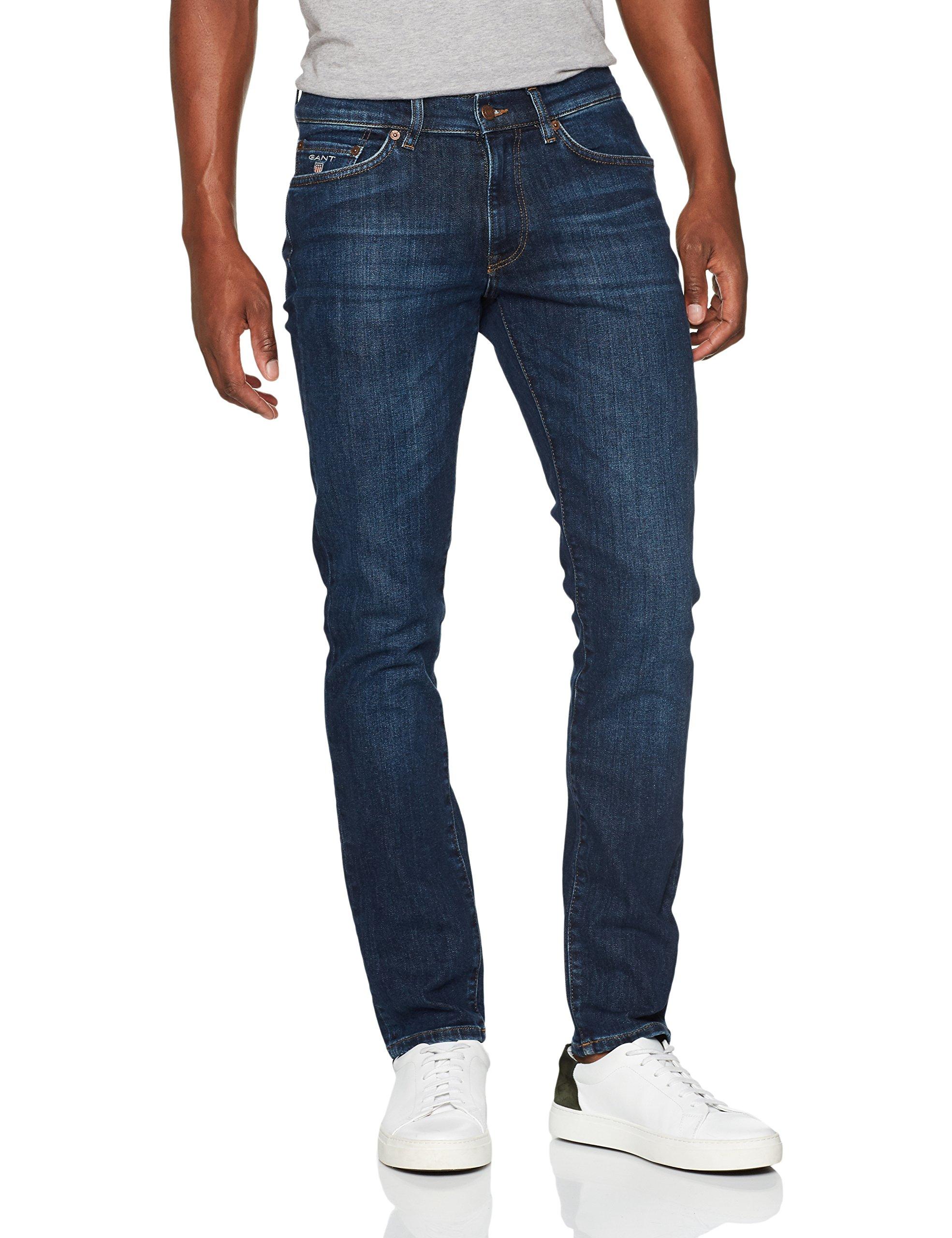 Straight Gant Blue l30taille Slim Jeans Fabricant3830Homme DroitBleudark InW38 Worn QBEroeCxWd