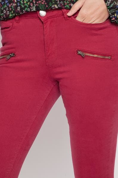 Skinny ElasthanneFemme Cache Style Pantalon Taille Rouge 34 Biker gy6bf7