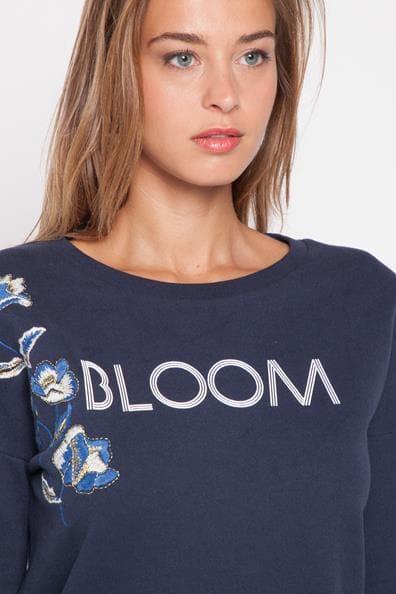 Bleu Sweat Cache Bloom S CotonFemme Taille Brodé WDE2Y9IH