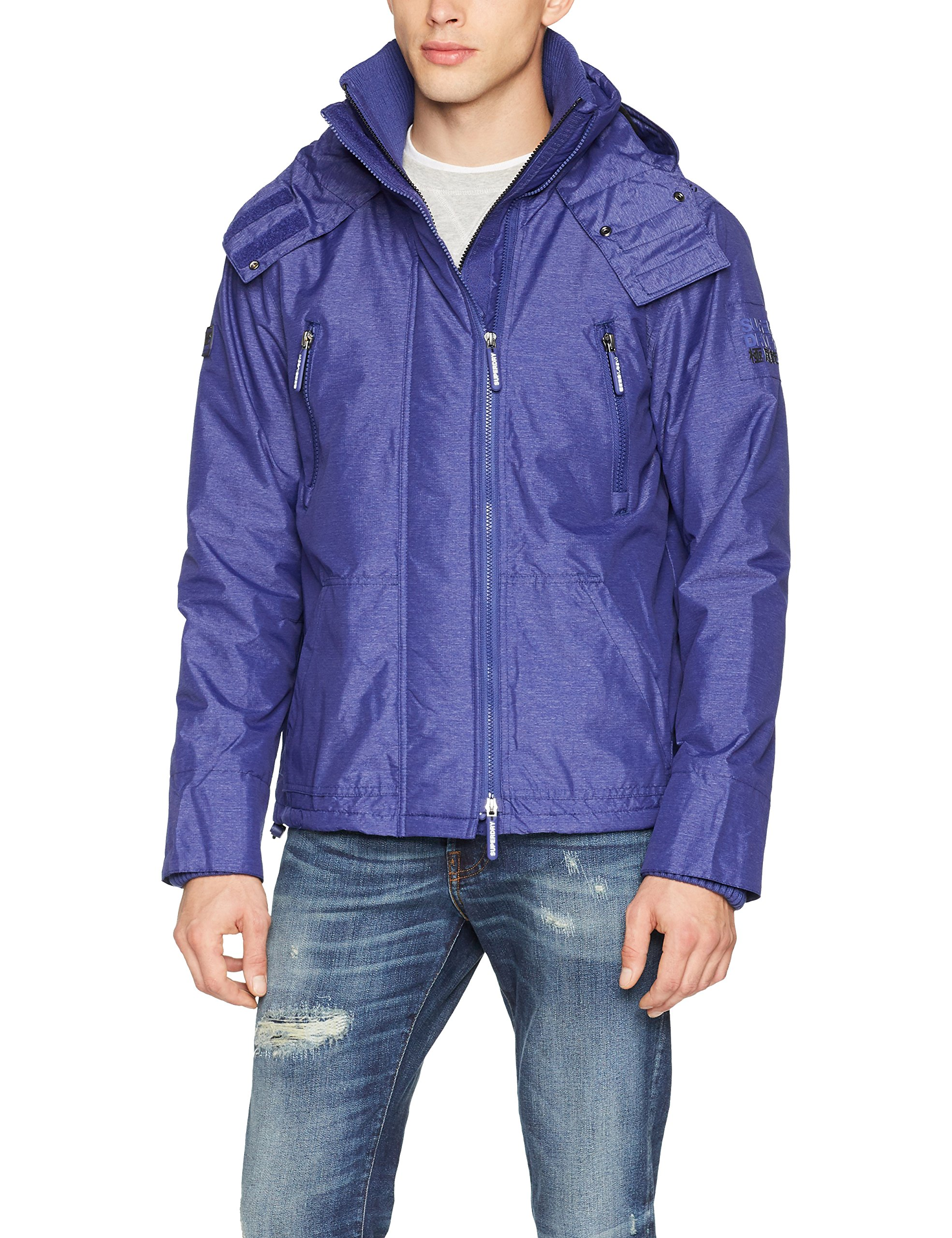 Wind De Homme SportBluroyal blackMedium Superdry Attacker Hooded Veste Marl Nkn0P8wOXZ