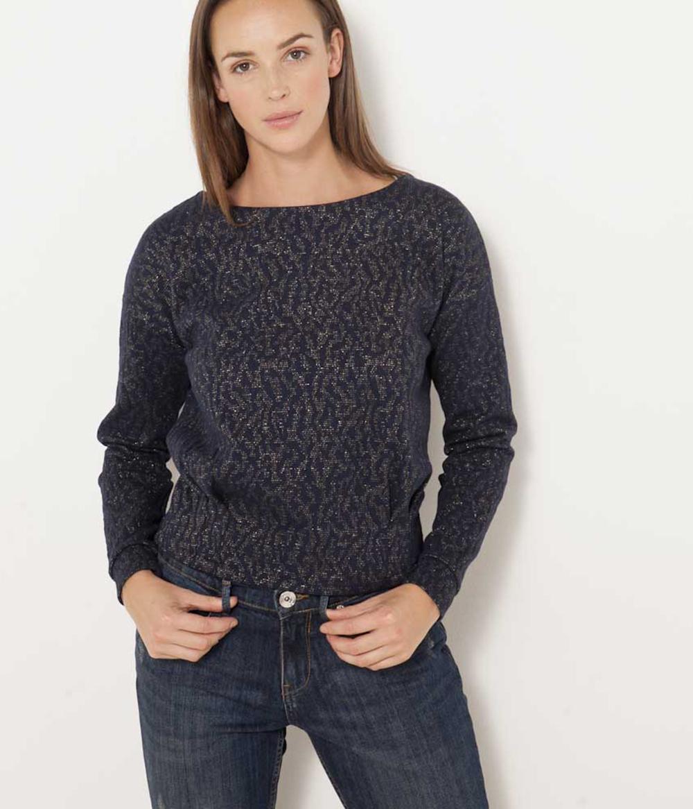 Femme shirt Jacquard Camaïeu T Impression 76Yfbgy