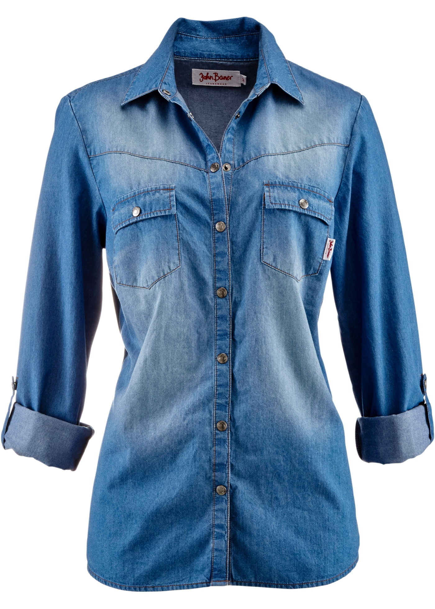 BonprixChemise Baner Pour Bleu Jeanswear Longues John Jean Manches Femme En Fl1JKc