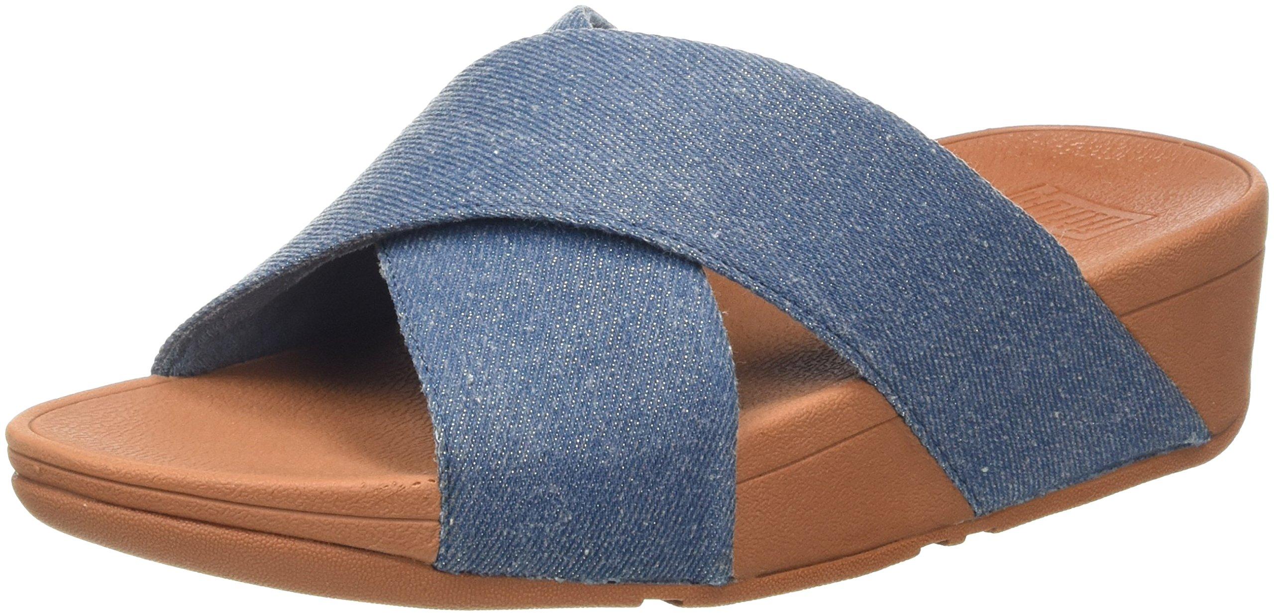 Slide Lulu denimBout 53336 Eu shimmer FemmeBleublue Fitflop Cross Sandals Ouvert PX08wnOk