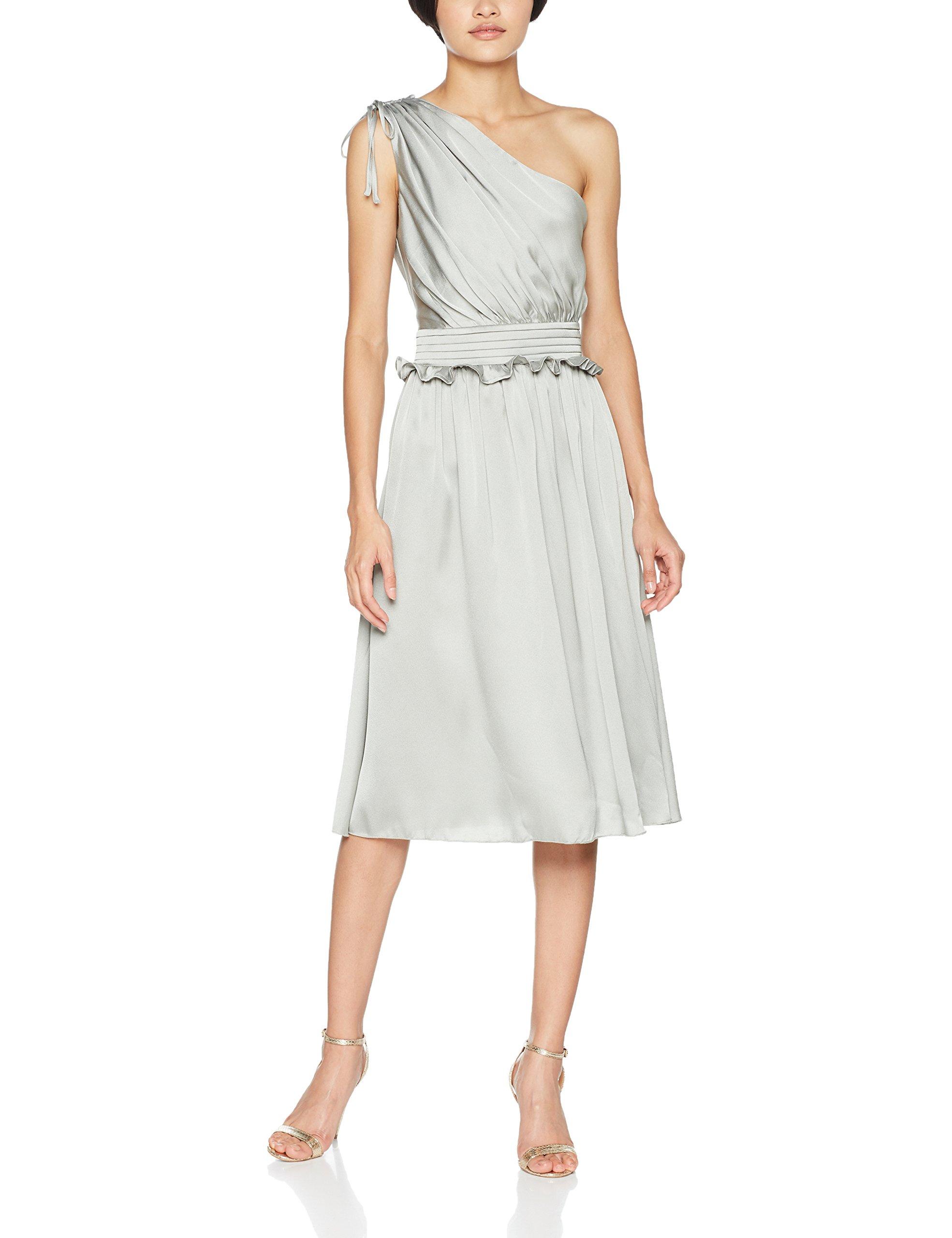 Midi 00138 Dress Mistress Femme Waterlily Little One Shoulder Satin RobeVert 8n0wmN