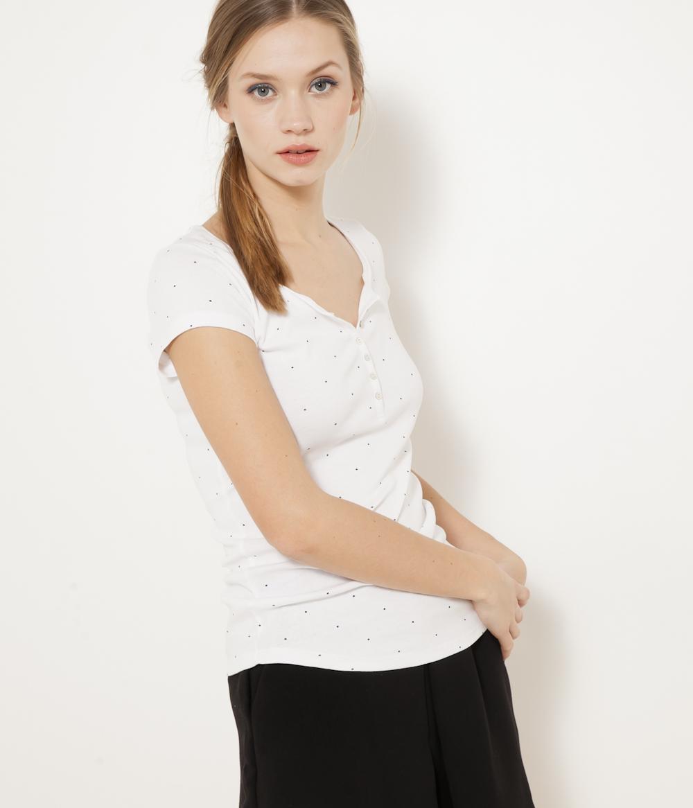 Boutons T Encolure V shirt Femme Camaïeu 2YHWED9I