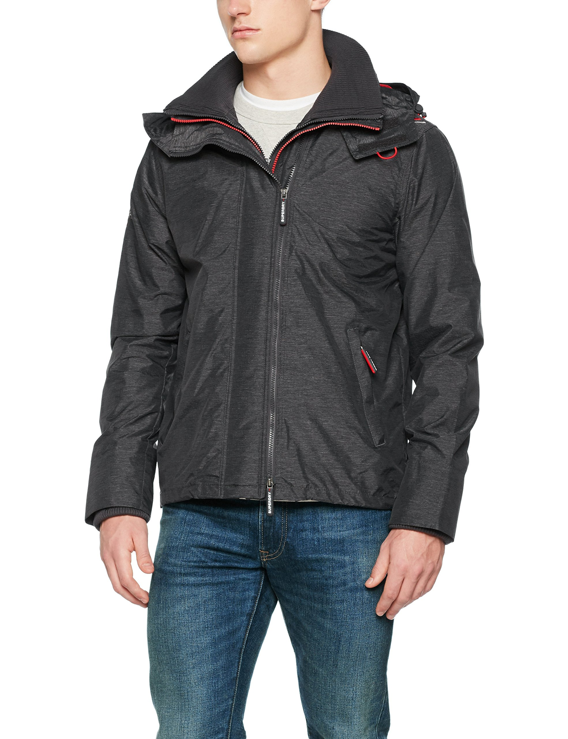 Homme Tech Superdry court Red SportGrismid Grey Marl Pop De Veste Nx4L Wndcheter Nb Zip oBeCxd