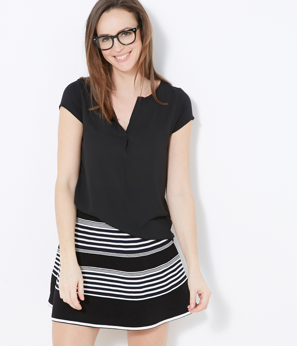 shirt Bi Femme Camaïeu T matières shQrxtCBd
