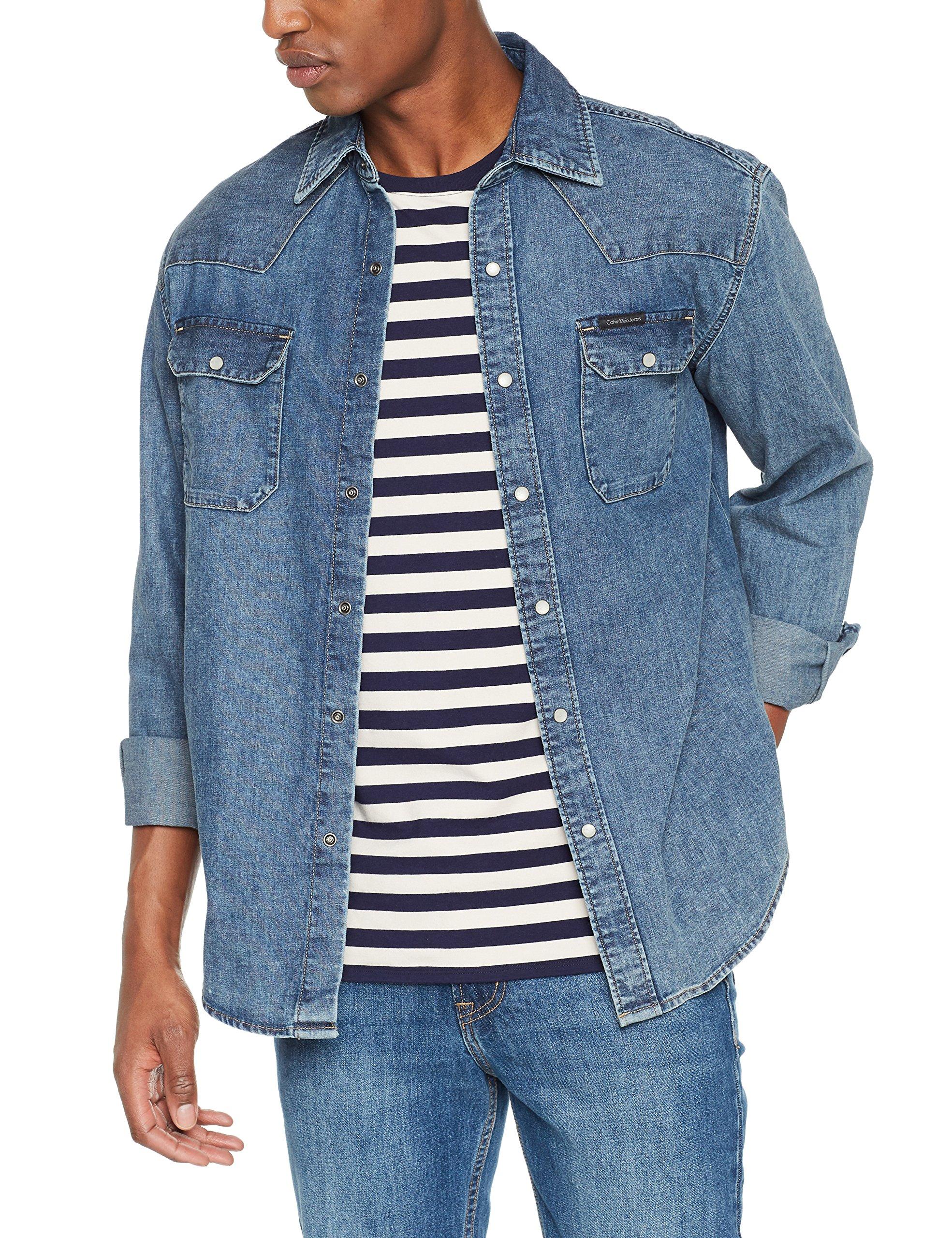 Chemise Calvin Homme CasualBleu Klein Archive soho Blue 911Medium Western Jeans TwZuOXPki