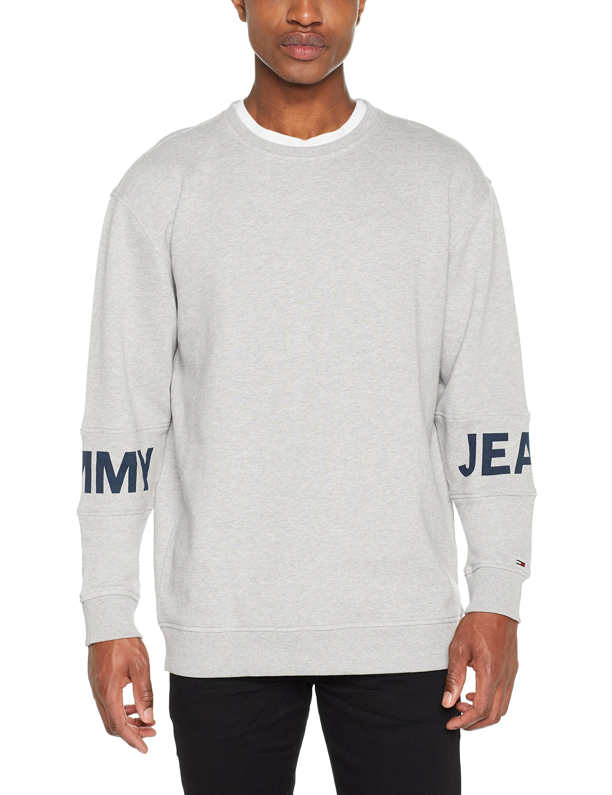 Tommy 038X Logo Banded shirt Jeans Grey Sweat Courtes Manches Grislt Htr Homme Essential Crew large kXOZiPu