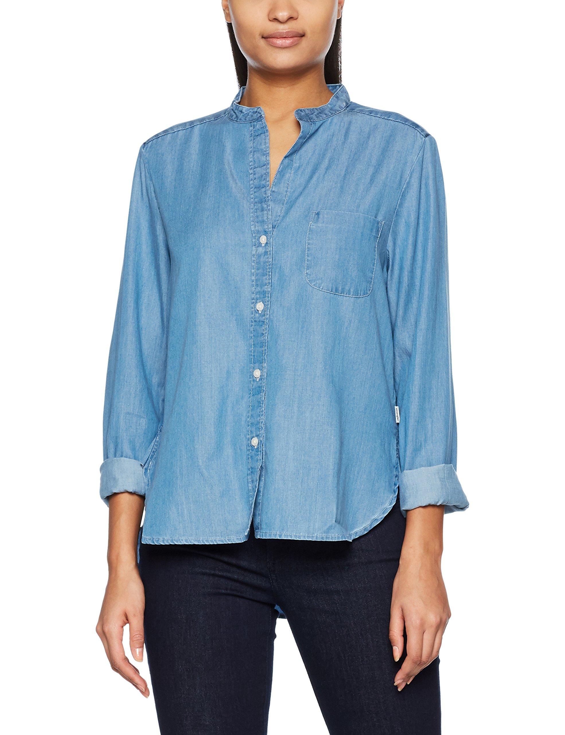 large 4eX Indigo Tencel FemmeBleulight Blouse Wrangler Shirt QWdxeBorC