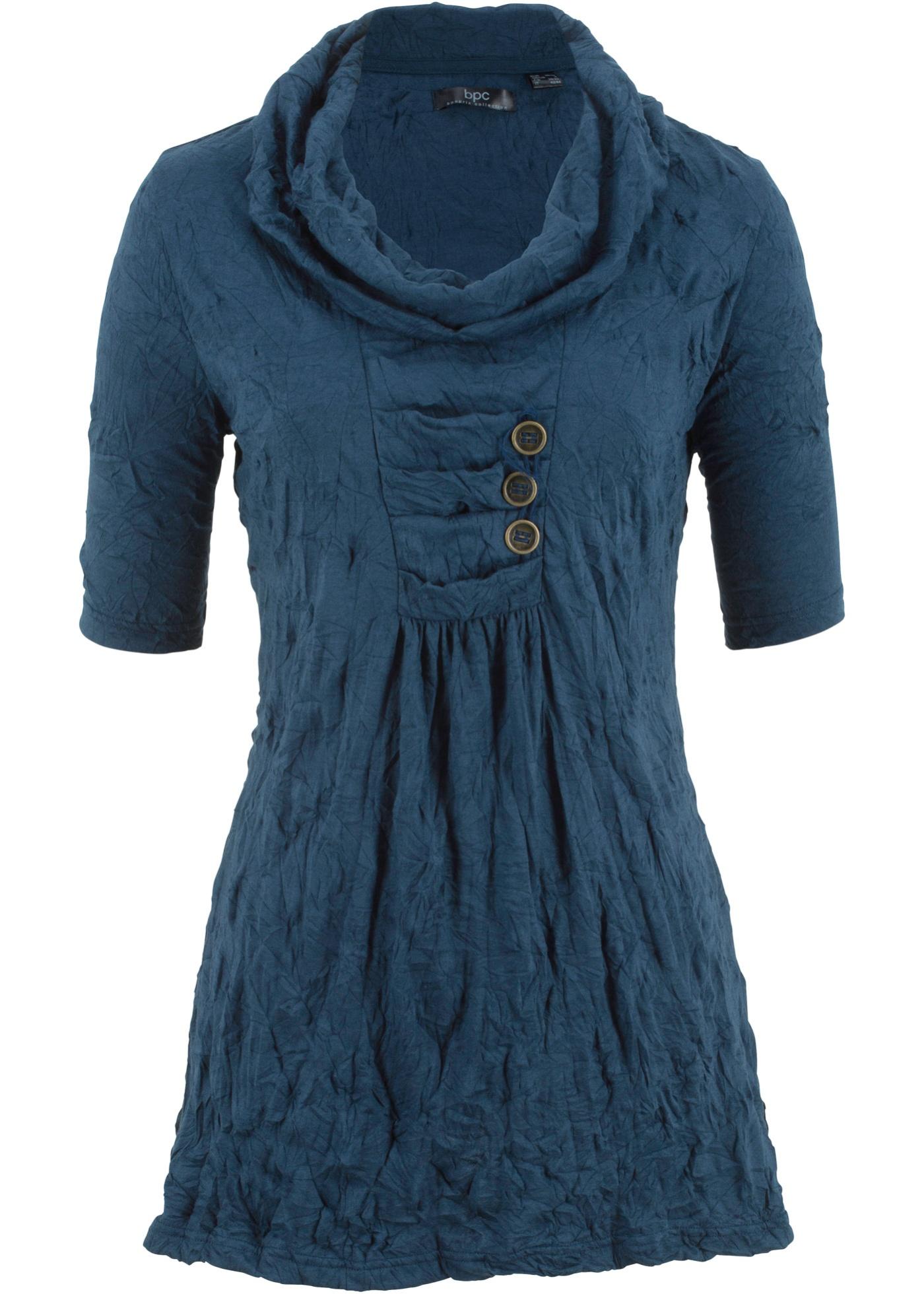 Froissée Bonprix Manches Pour CollectionTunique 1 Bpc Bleu 2 Femme 3AR4L5jq