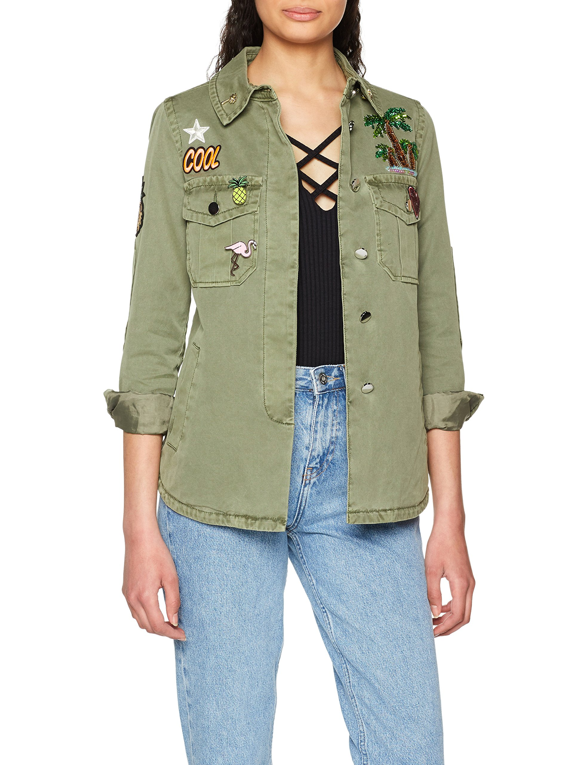 Patches amp;royal With And ParkaGrünspring Khaki Rich Pins 47440 Femme Jacket zMVqUpSG