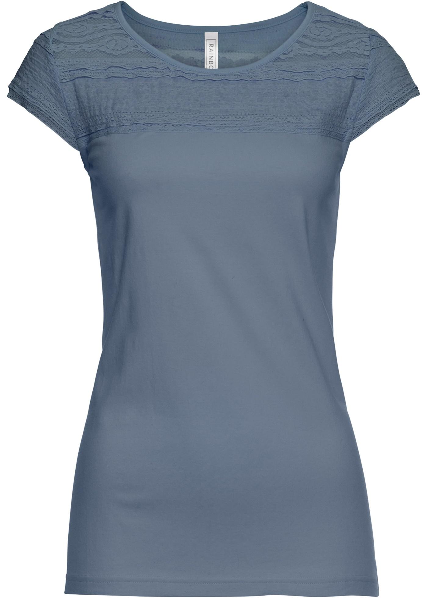 shirt Avec Courtes Gris Pour Dentelle Femme BonprixT Manches Rainbow K3TFJc1l