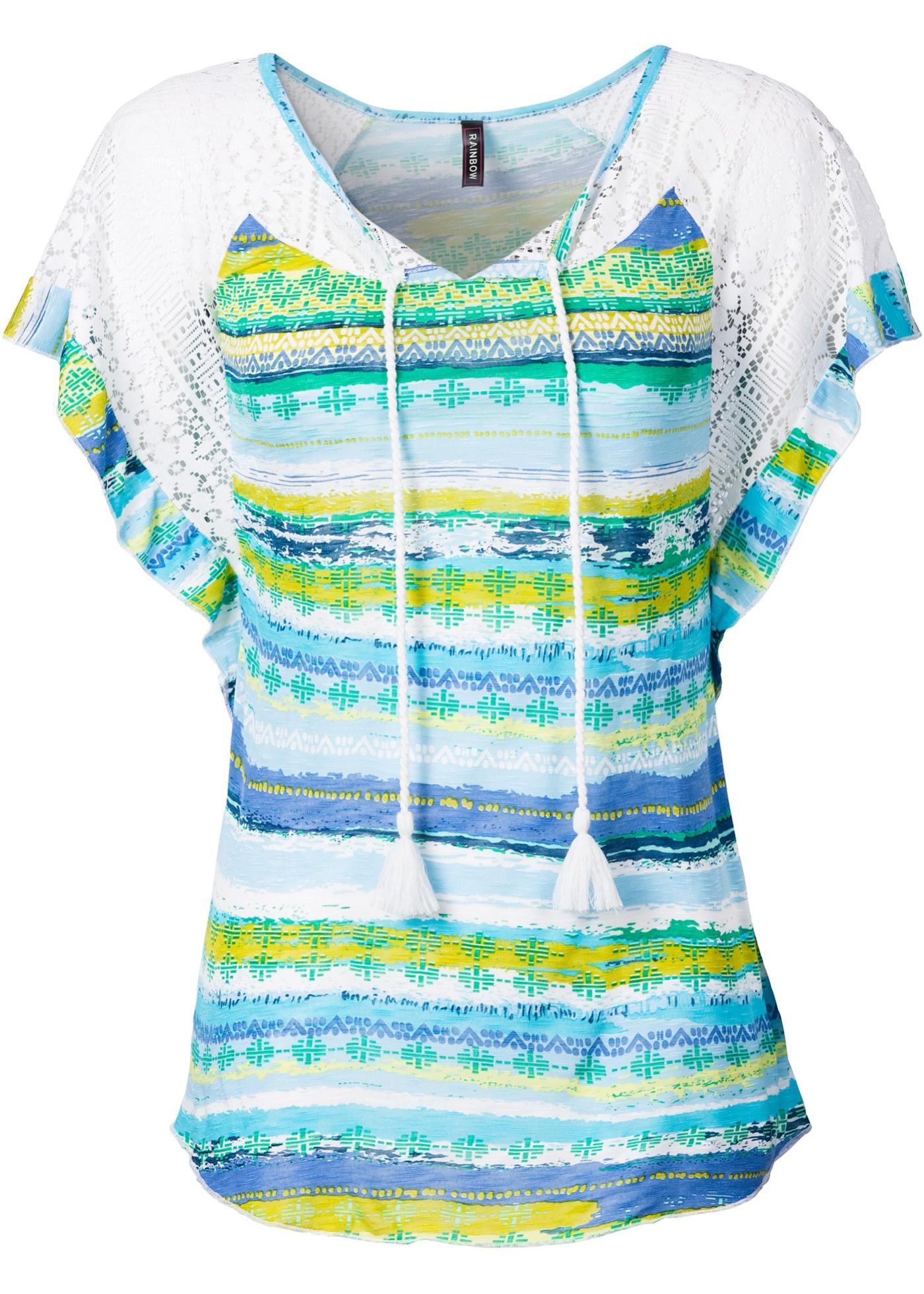 Manches Rainbow shirt Femme BonprixT Courtes Avec Bleu Dentelle Pour 1cluTKFJ3
