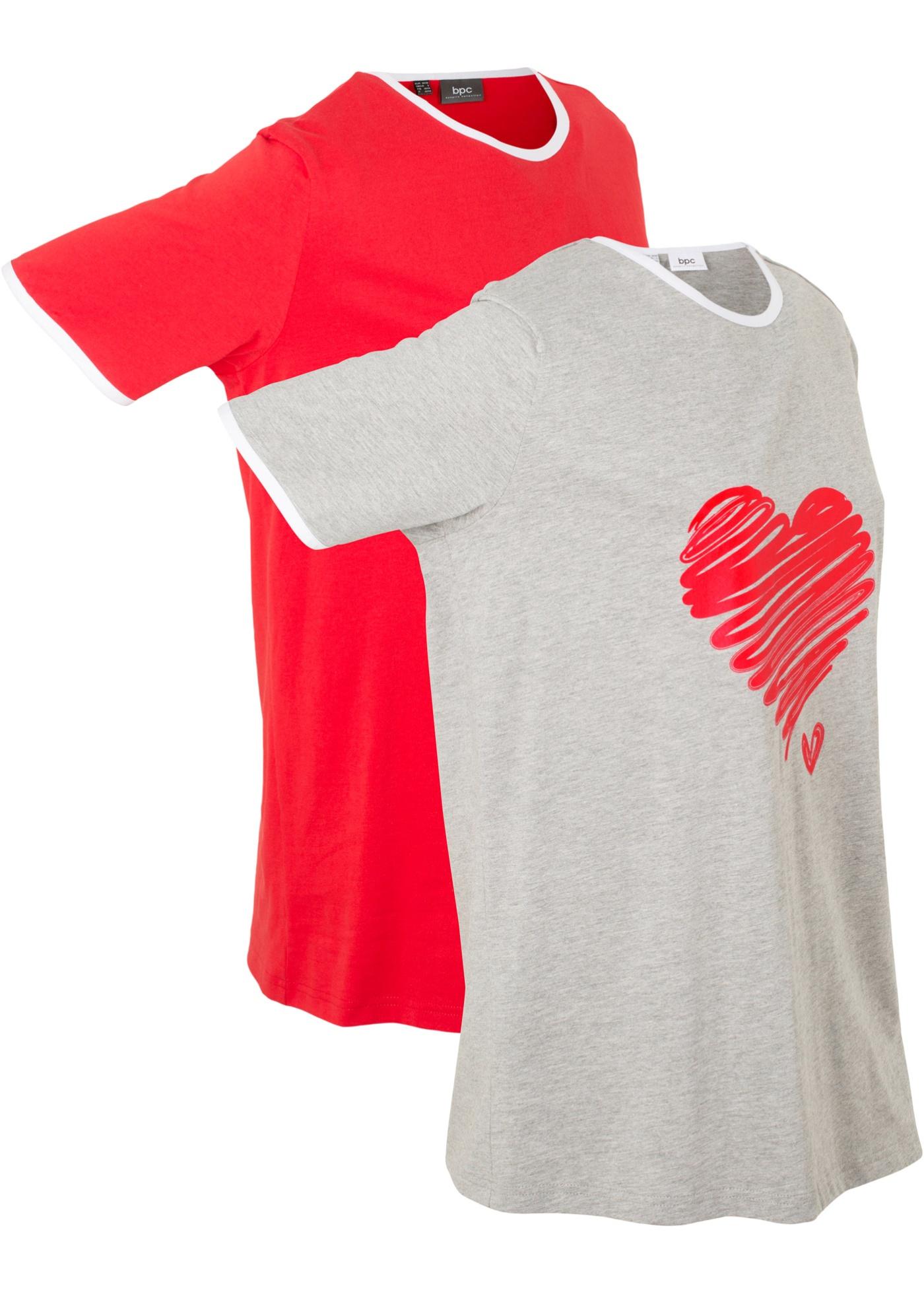 Bonprix Femme CollectionLot Bpc Pour 2 T LongsManches Courtes Gris De shirts dxerCQWEBo