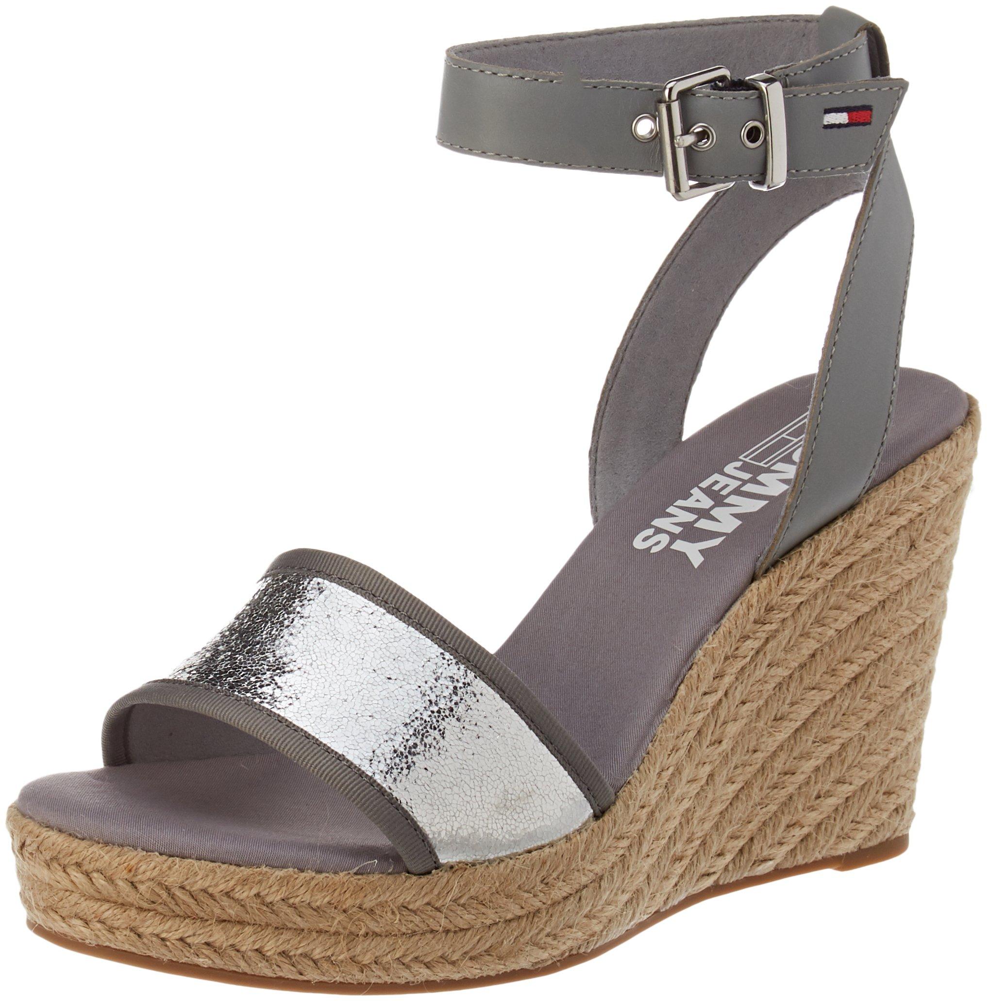 Tommy Hilfiger Denim Wedge SandalEspadrilles Jeans FemmeArgentsilver Metallic Eu 00040 H9D2YEIW