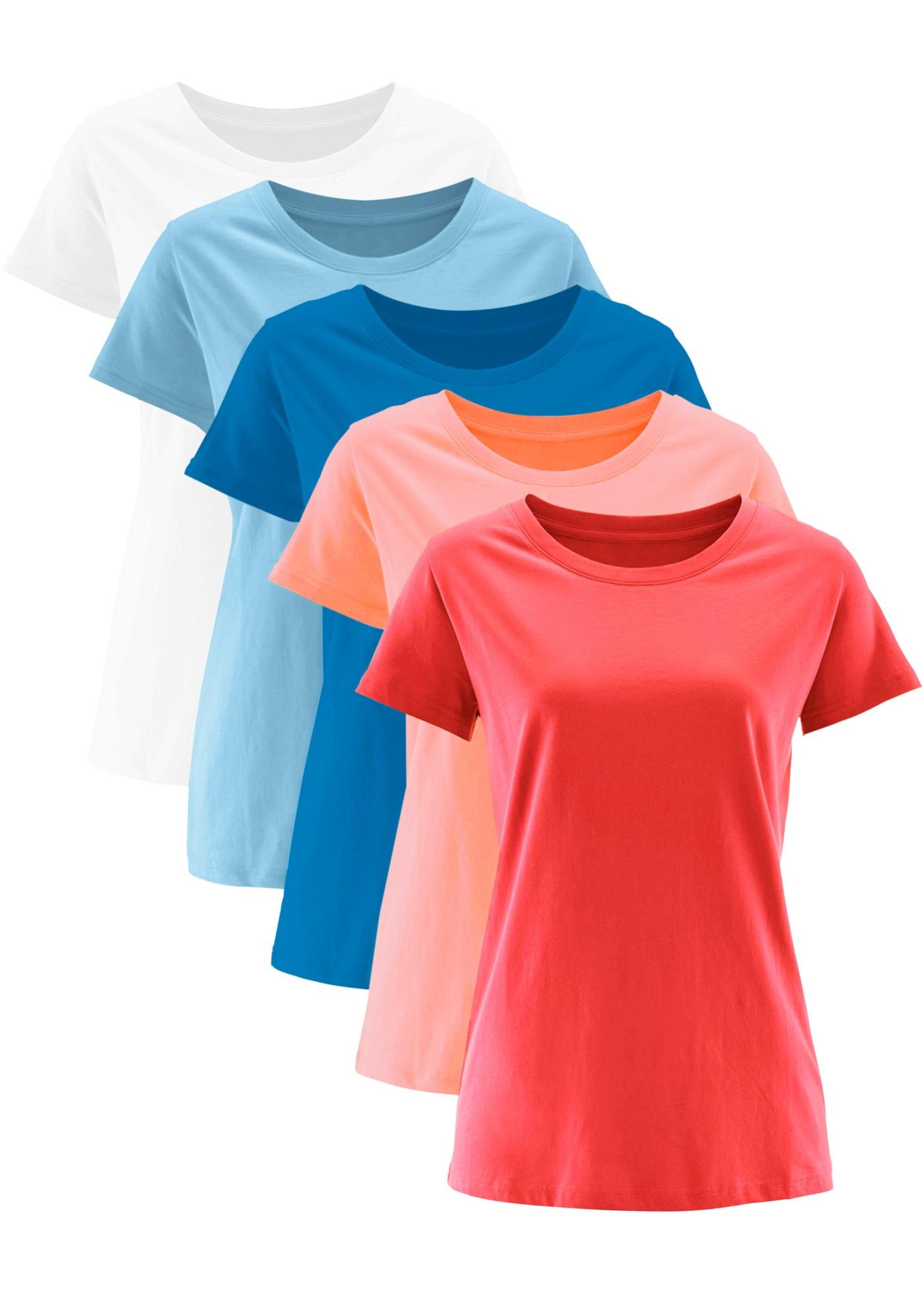 Orange Courtes 5 Col Femme T Pour Avec Bonprix Manches shirts Bpc CollectionLot Rond De byIfY76vg