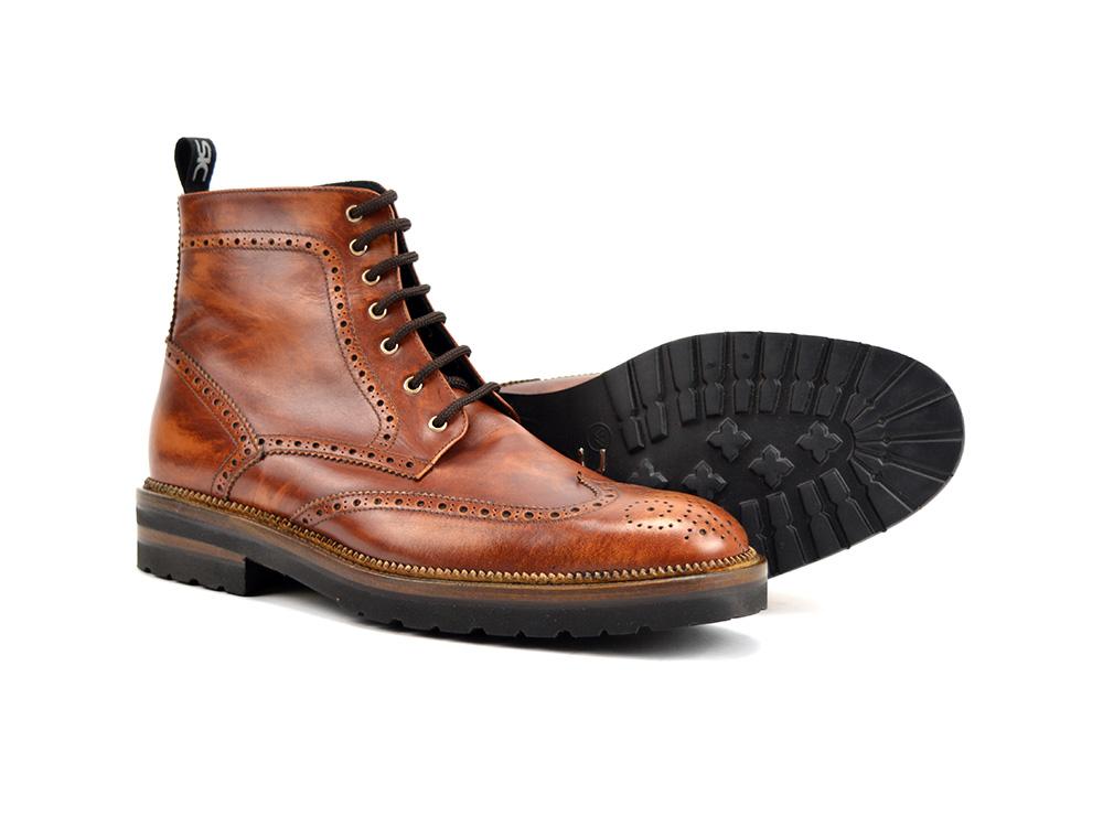Italian DisDesign Marron À Cuir La Cheville Bottines Colombo Shoes En Brides uJl1K3cTF